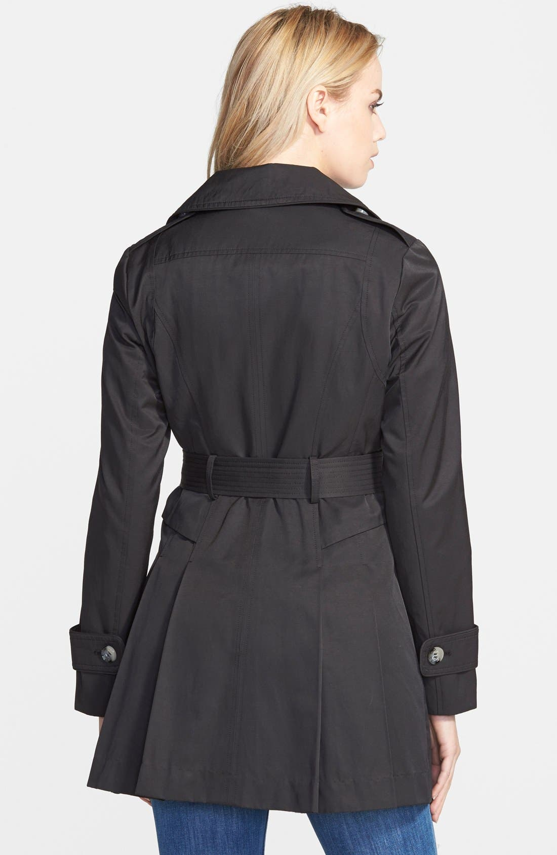 Double Breasted Skirted Trench Coat,                             Alternate thumbnail 3, color,                             001