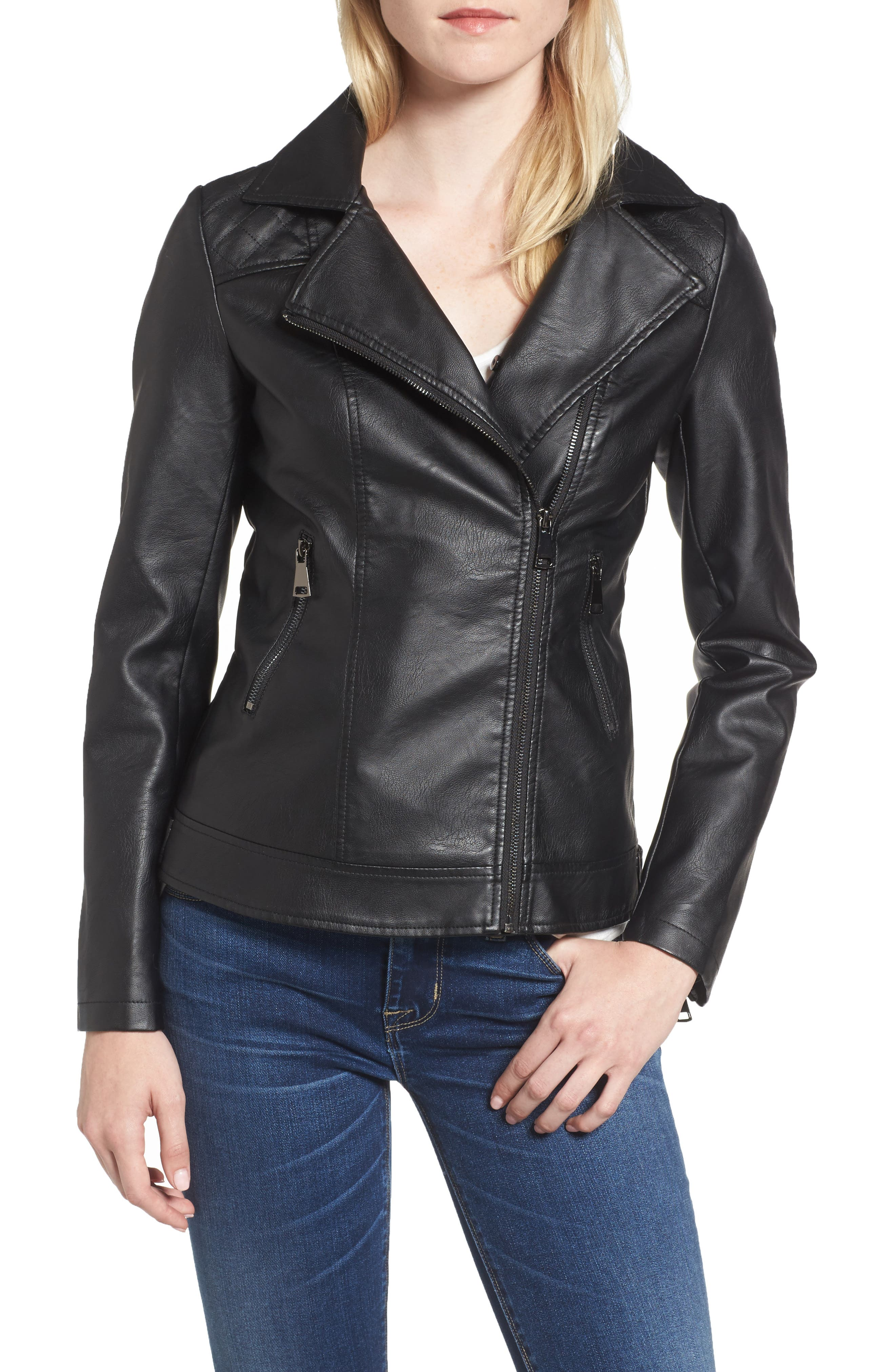 Faux Leather Jacket with Removable Faux Fur Collar,                             Alternate thumbnail 7, color,