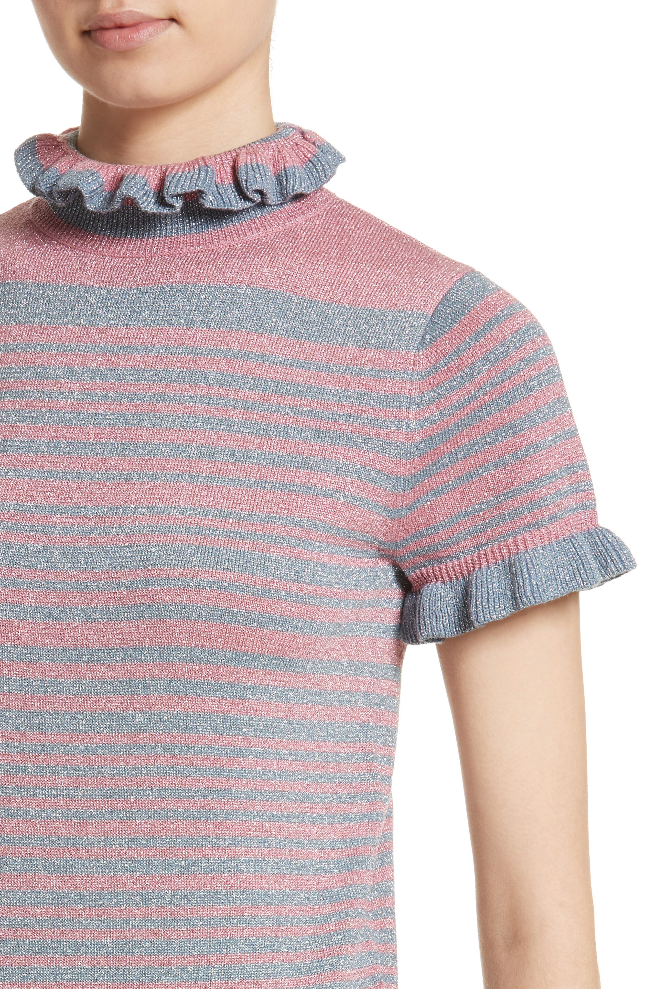 Joan Metallic Stripe Short Sleeve Sweater,                             Alternate thumbnail 4, color,                             400