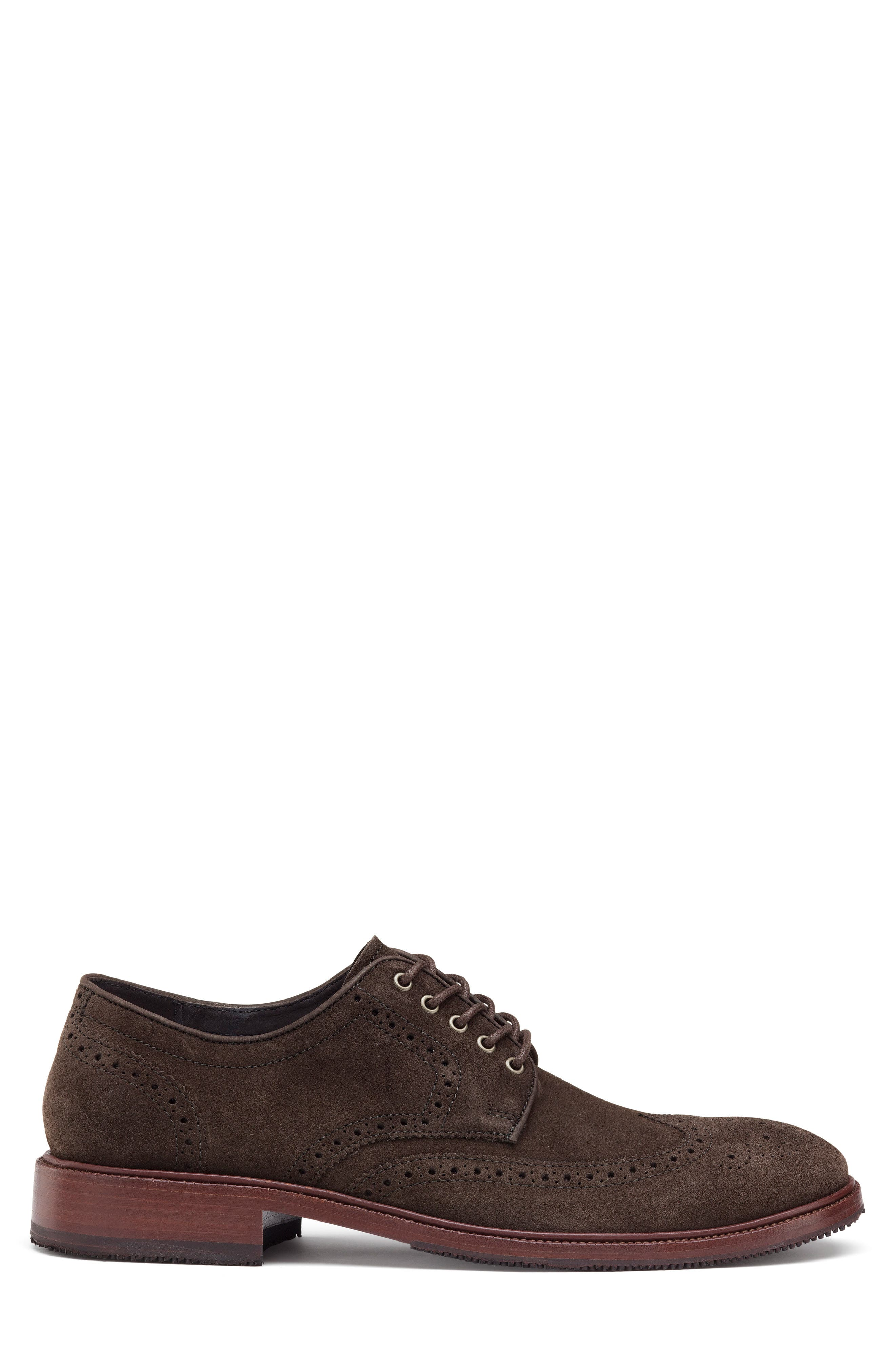 Logan Wingtip Derby,                             Alternate thumbnail 3, color,                             CHARCOAL SUEDE