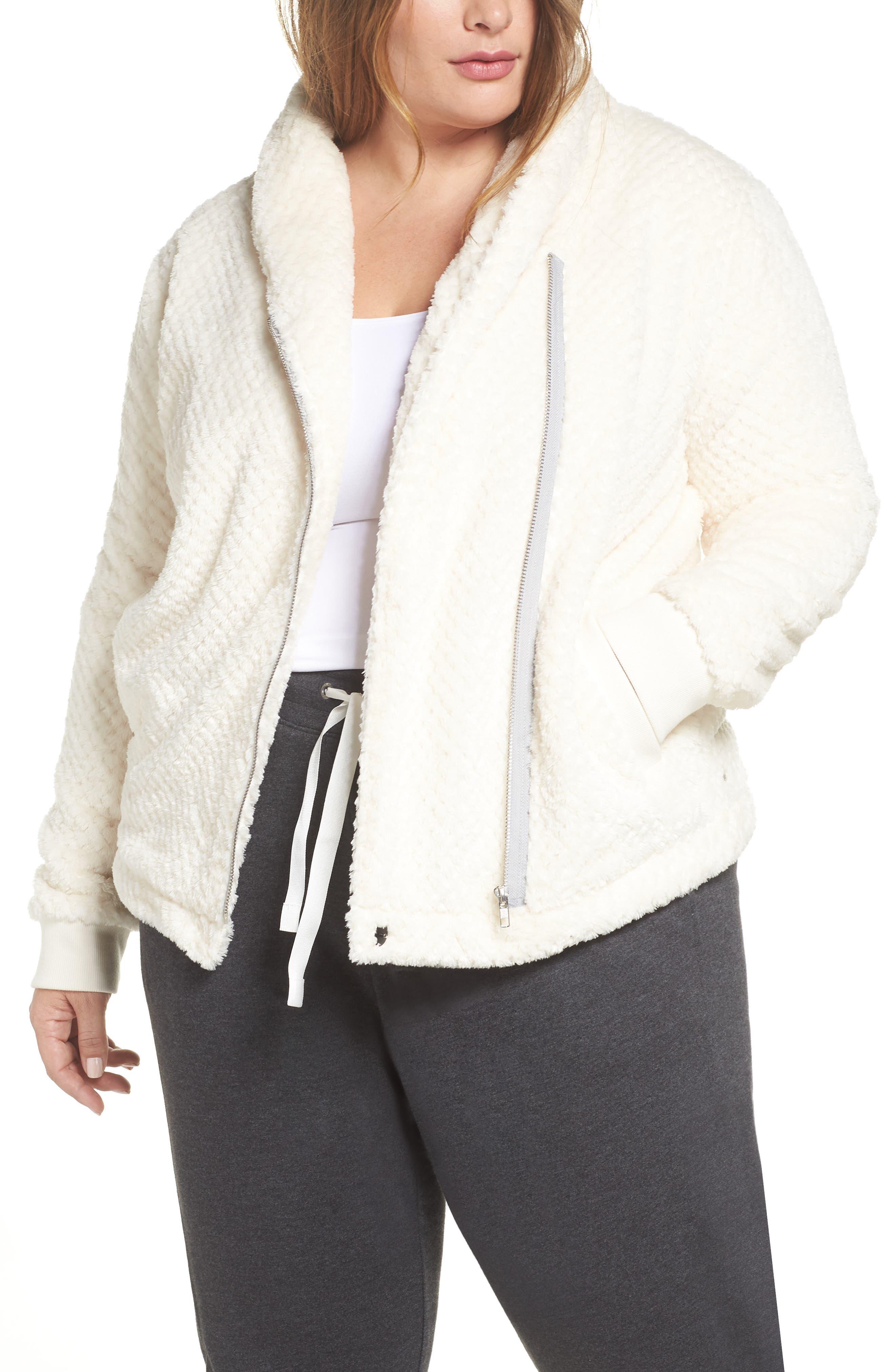 ZELLA Diamond Fleece Jacket, Main, color, IVORY CLOUD