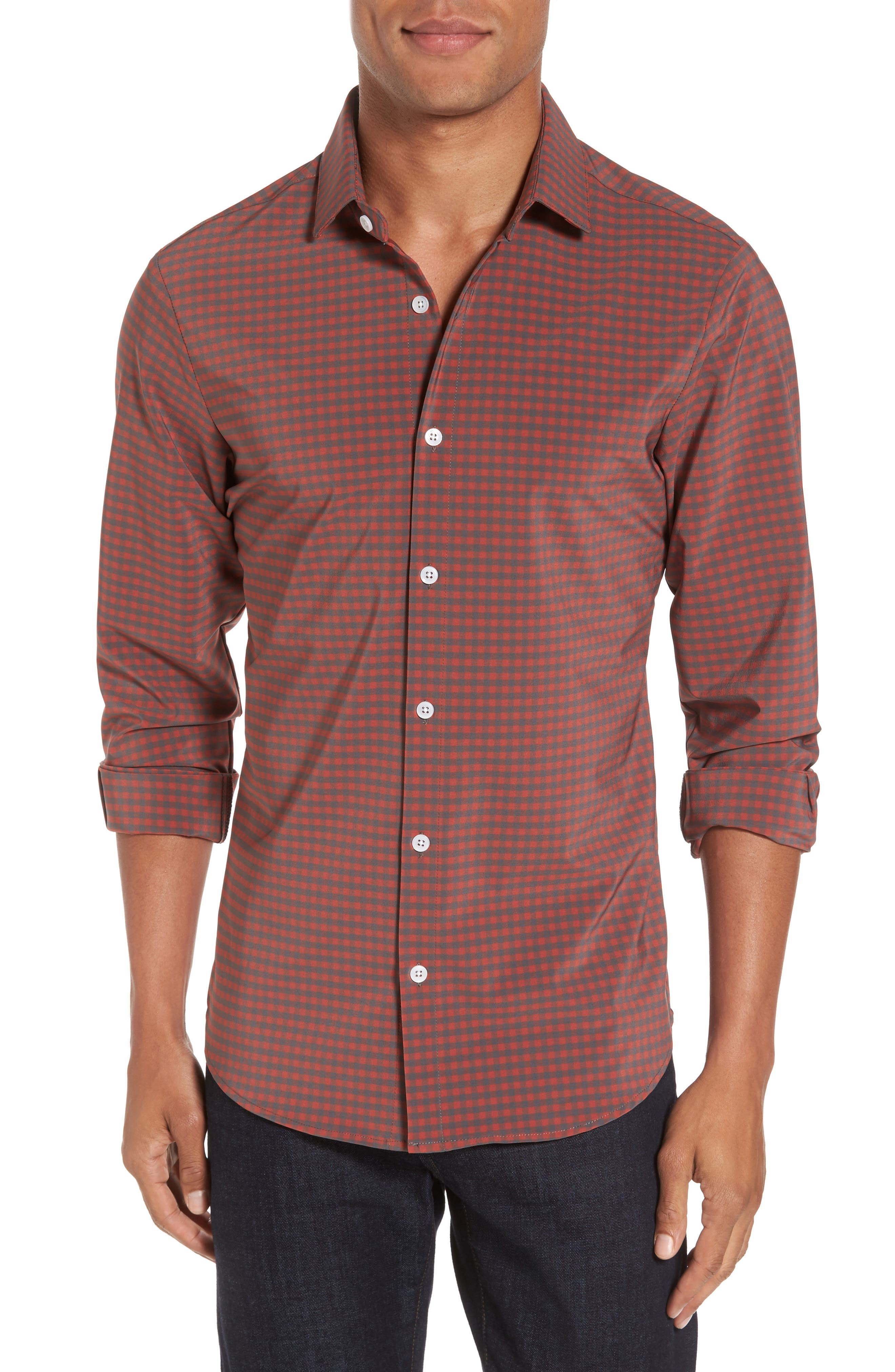 Douglas Grey & Chili Check Sport Shirt,                         Main,                         color, RED
