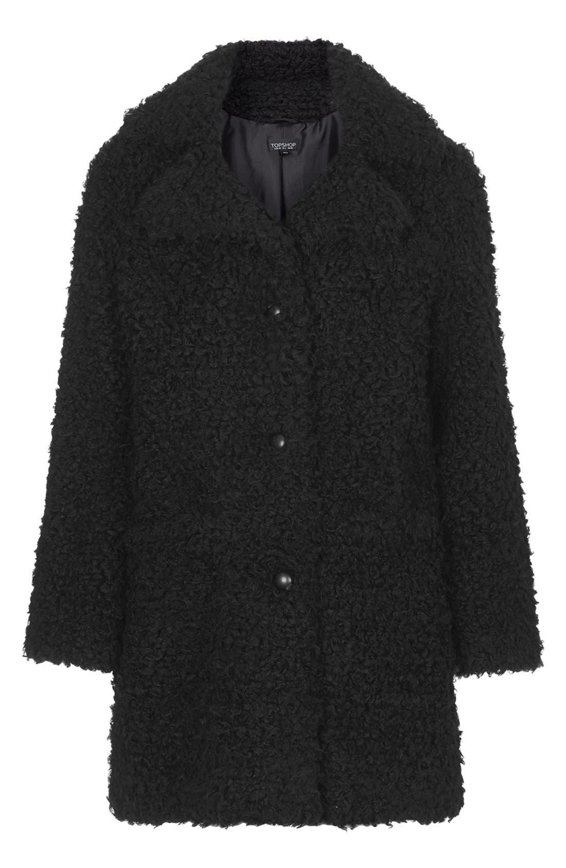 Faux Fur Car Coat,                             Alternate thumbnail 5, color,                             001