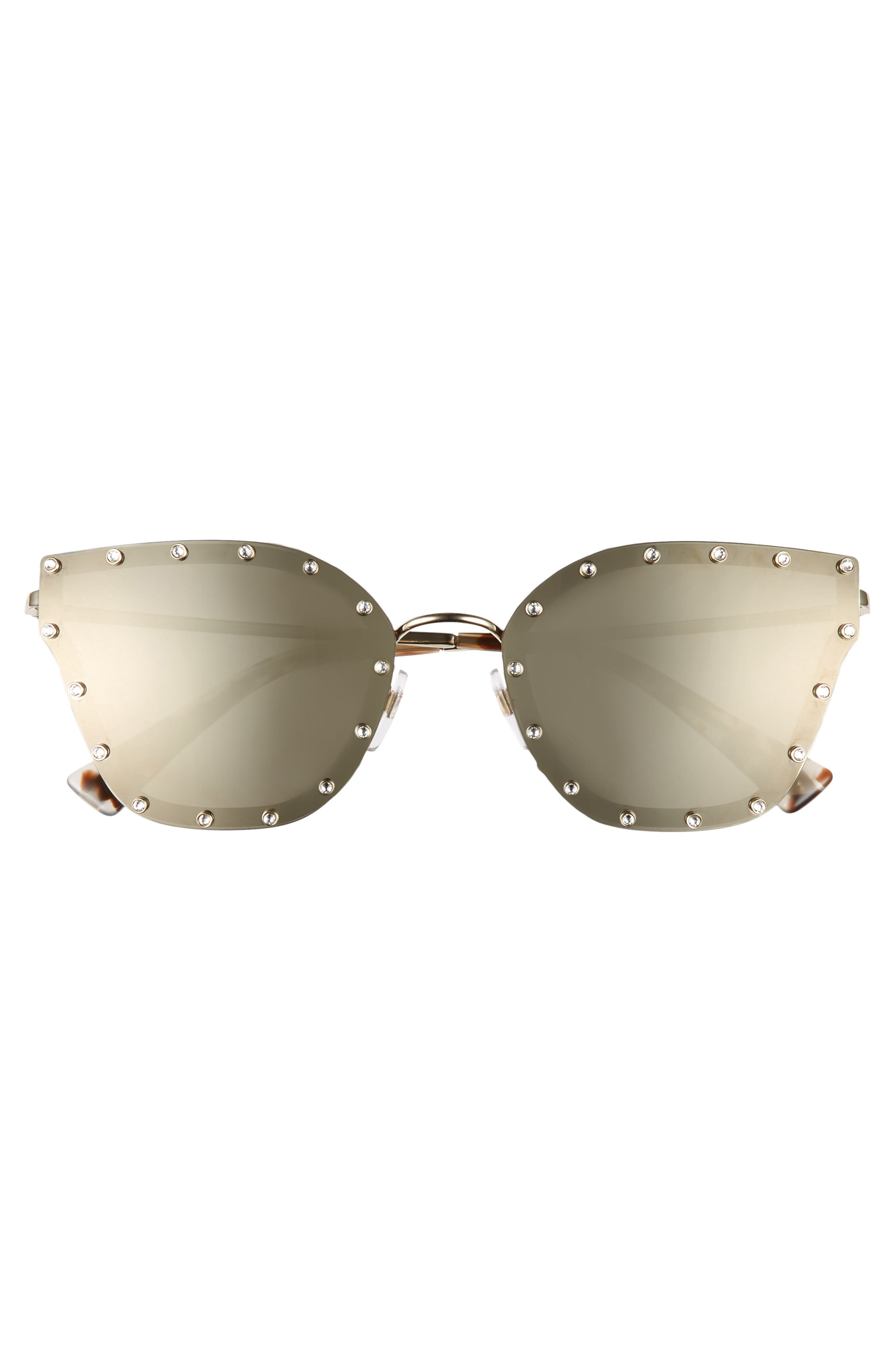 VALENTINO,                             59mm Cat Eye Sunglasses,                             Alternate thumbnail 3, color,                             LIGHT GOLD/ GOLD