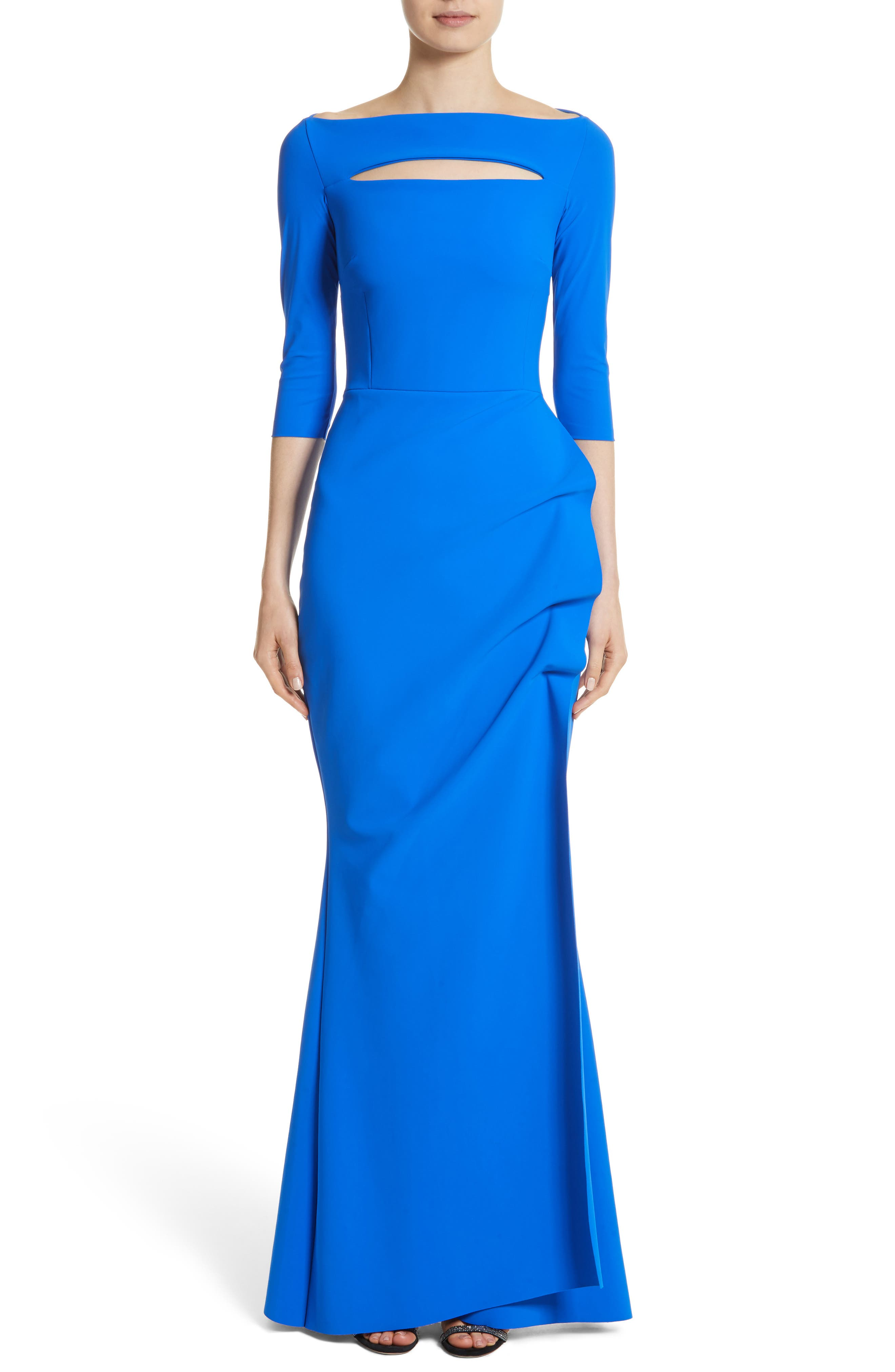 Chiara Boni La Petite Robe Slit Bodice Drape Front Gown, US / 42 IT - Blue