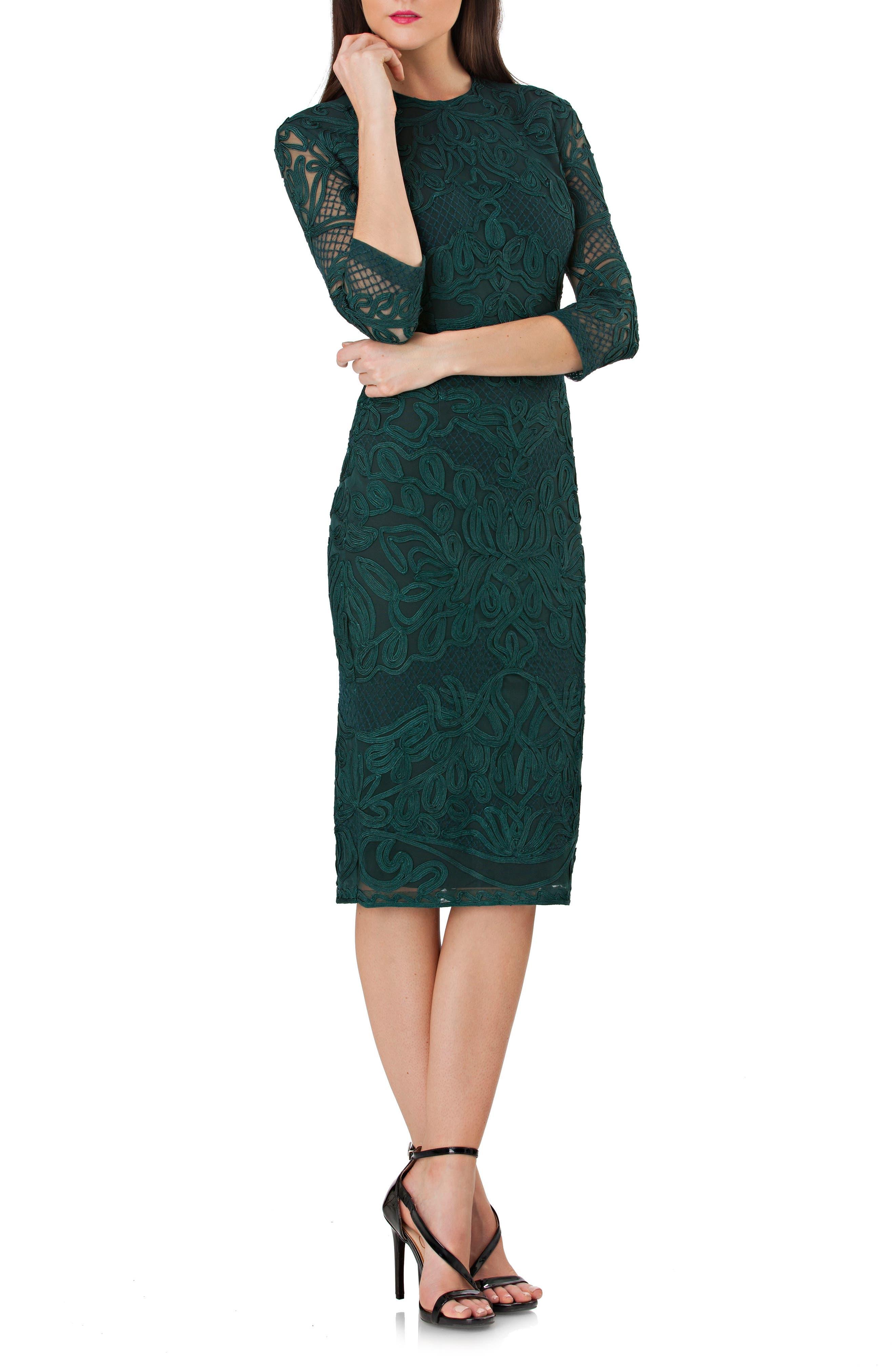 Soutache Sheath Dress,                         Main,                         color, FOREST