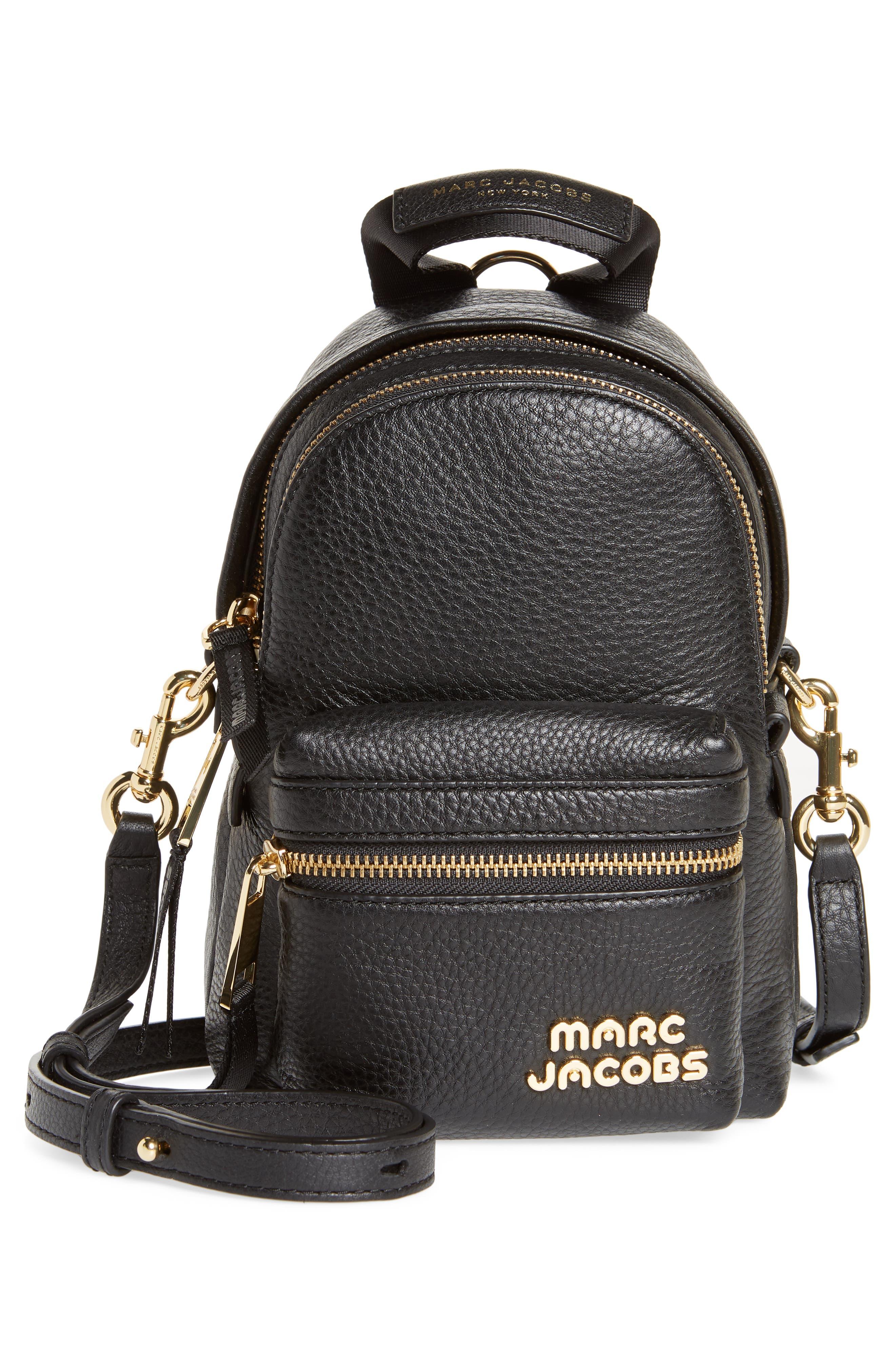 Mini Trek Leather Backpack,                             Alternate thumbnail 3, color,                             BLACK