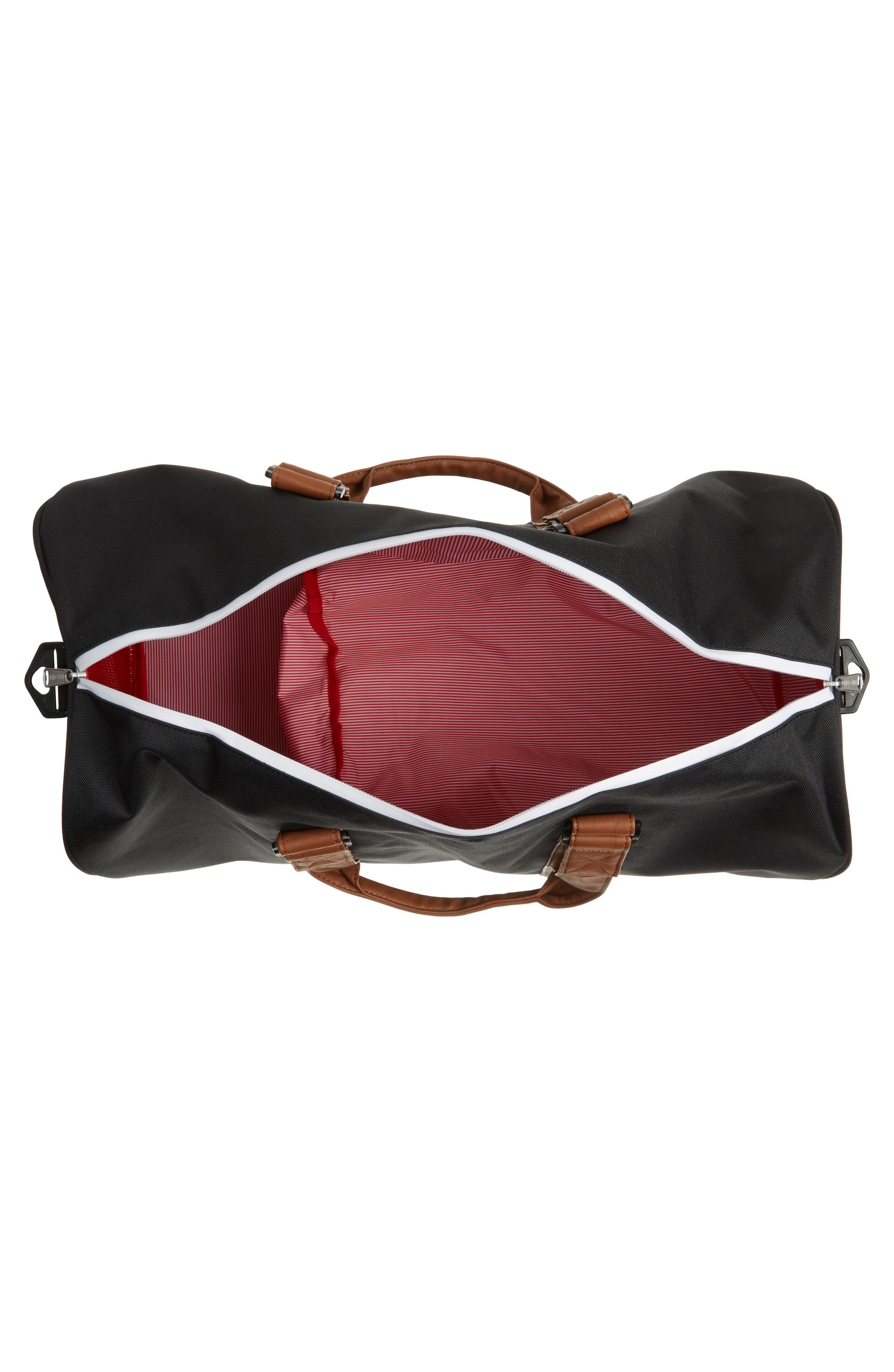 'Novel' Duffel Bag,                             Alternate thumbnail 3, color,                             BLACK/ TAN