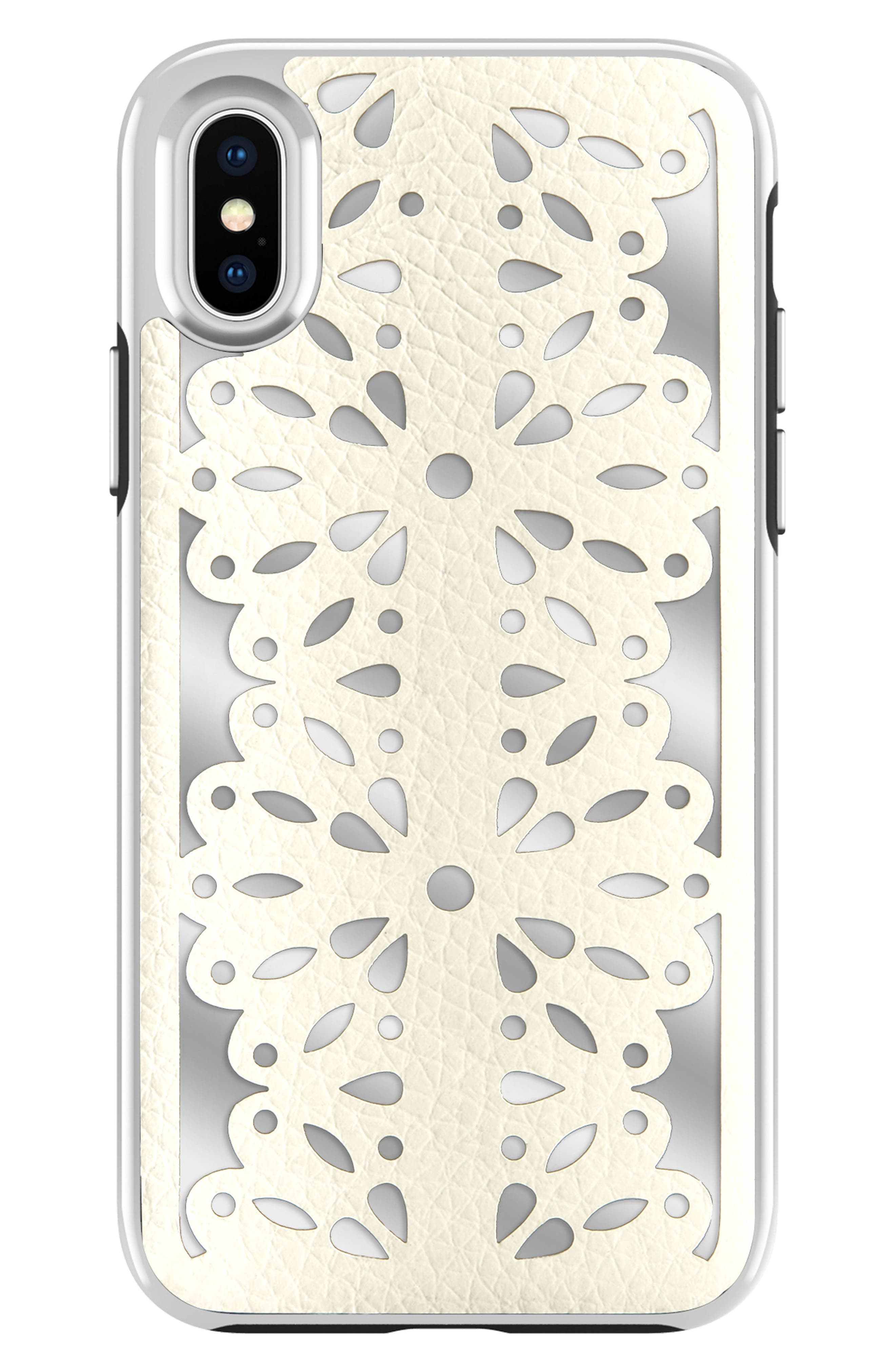 Luxury Calls Laser Lace iPhone X/Xs Case,                             Main thumbnail 1, color,                             BIANCO/ SILVER