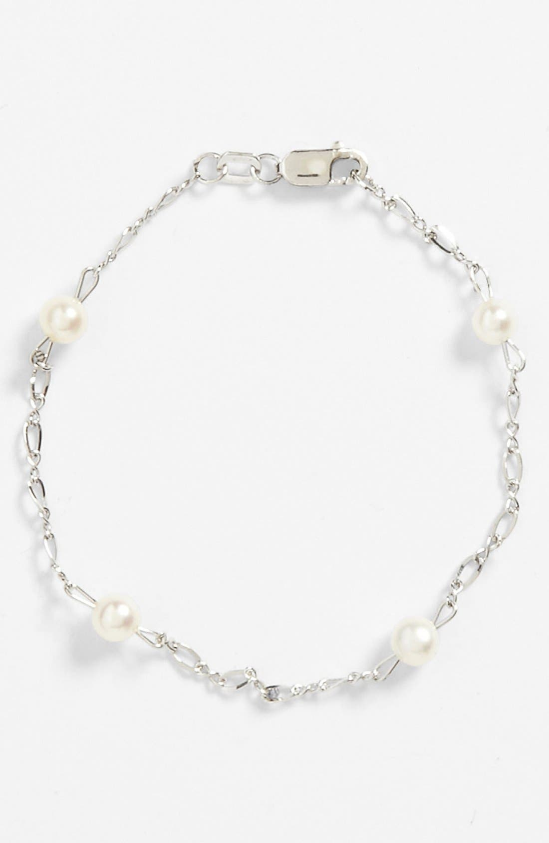 Sterling Silver & Cultured Pearl Bracelet,                             Main thumbnail 1, color,                             WHITE