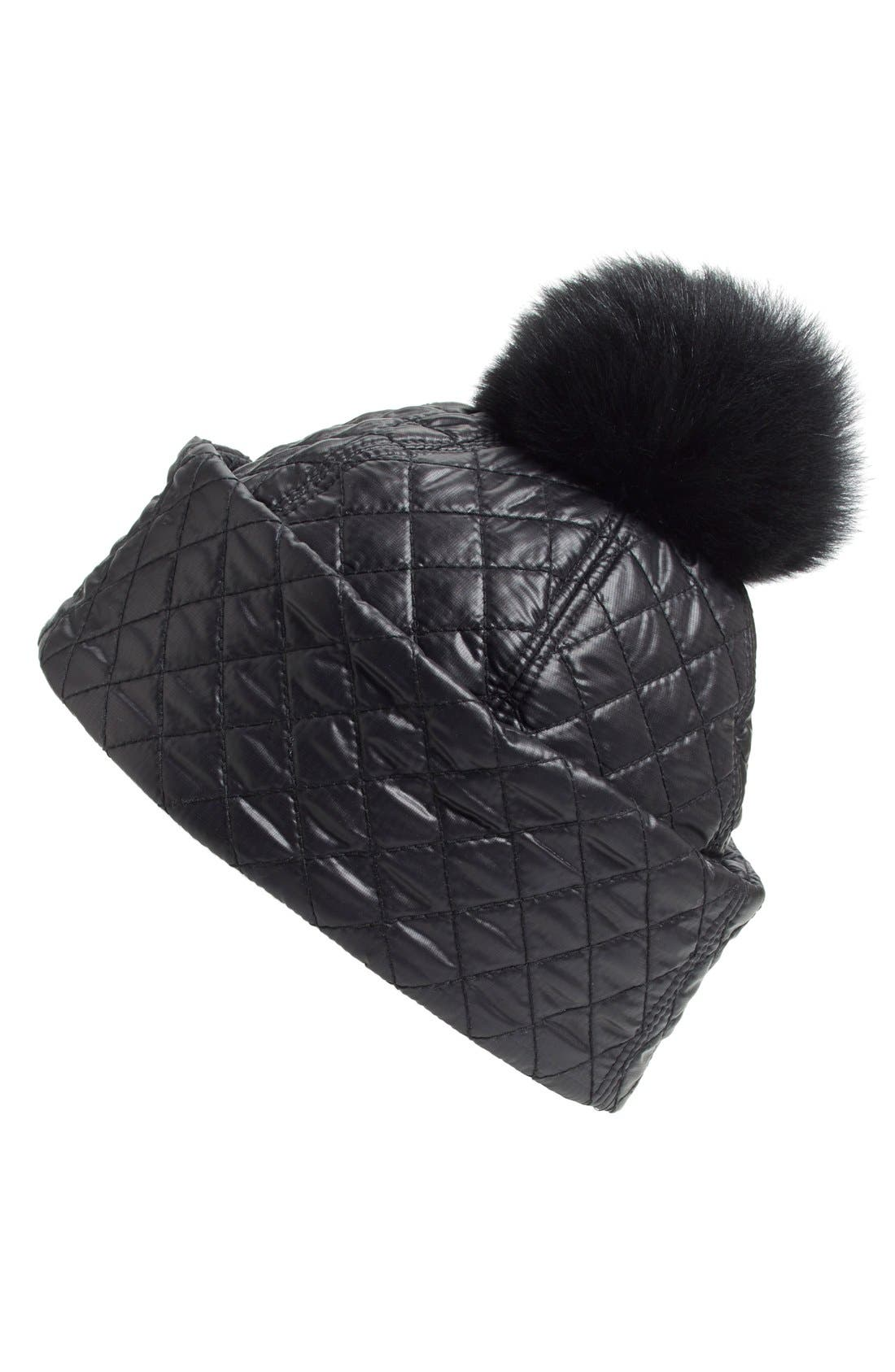 Australia Water ResistantQuilted Hat with Genuine ShearlingPompom,                             Main thumbnail 1, color,                             BLACK