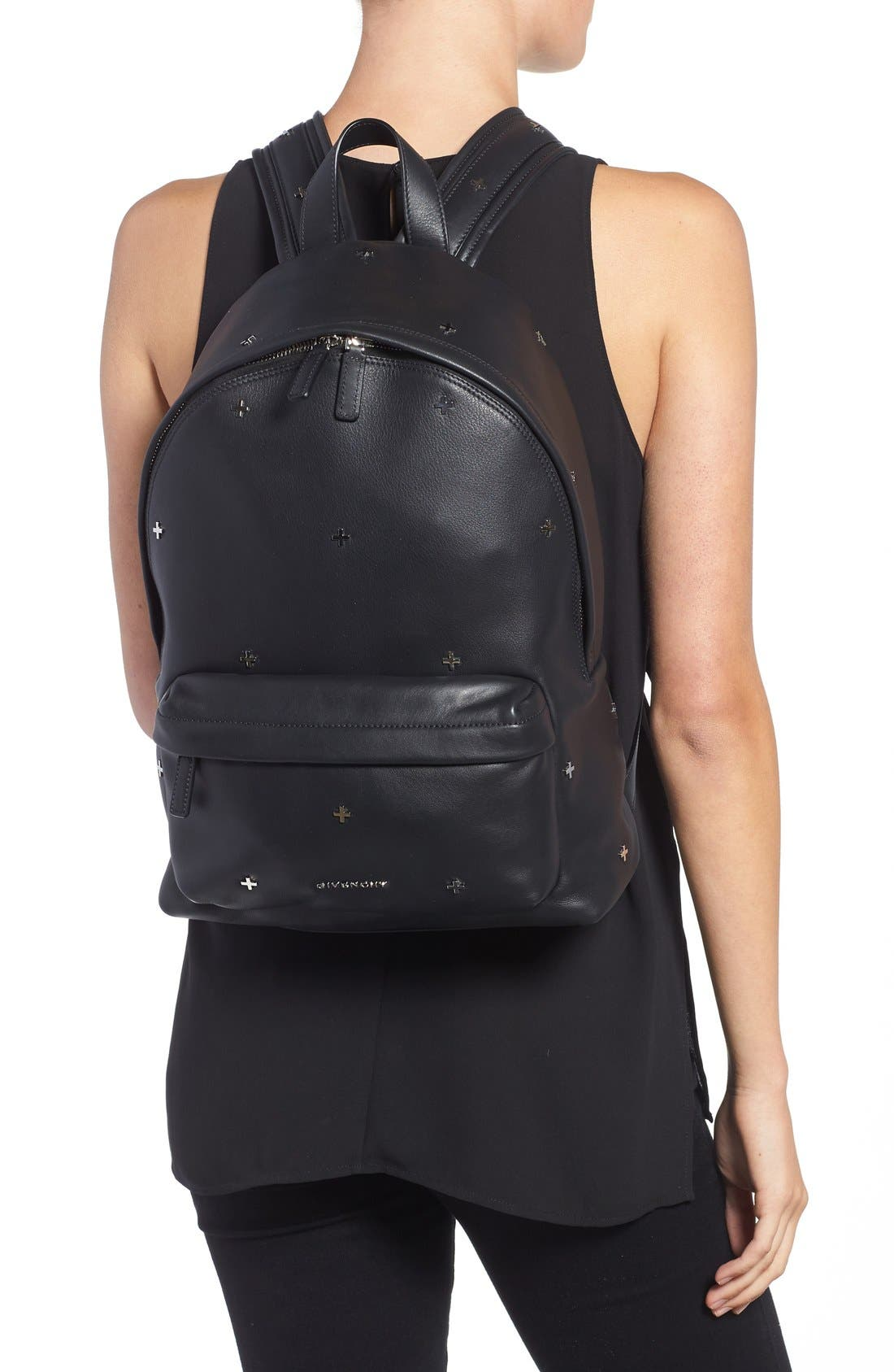 GIVENCHY,                             Metal Cross Embellished Calfskin Leather Backpack,                             Alternate thumbnail 5, color,                             001