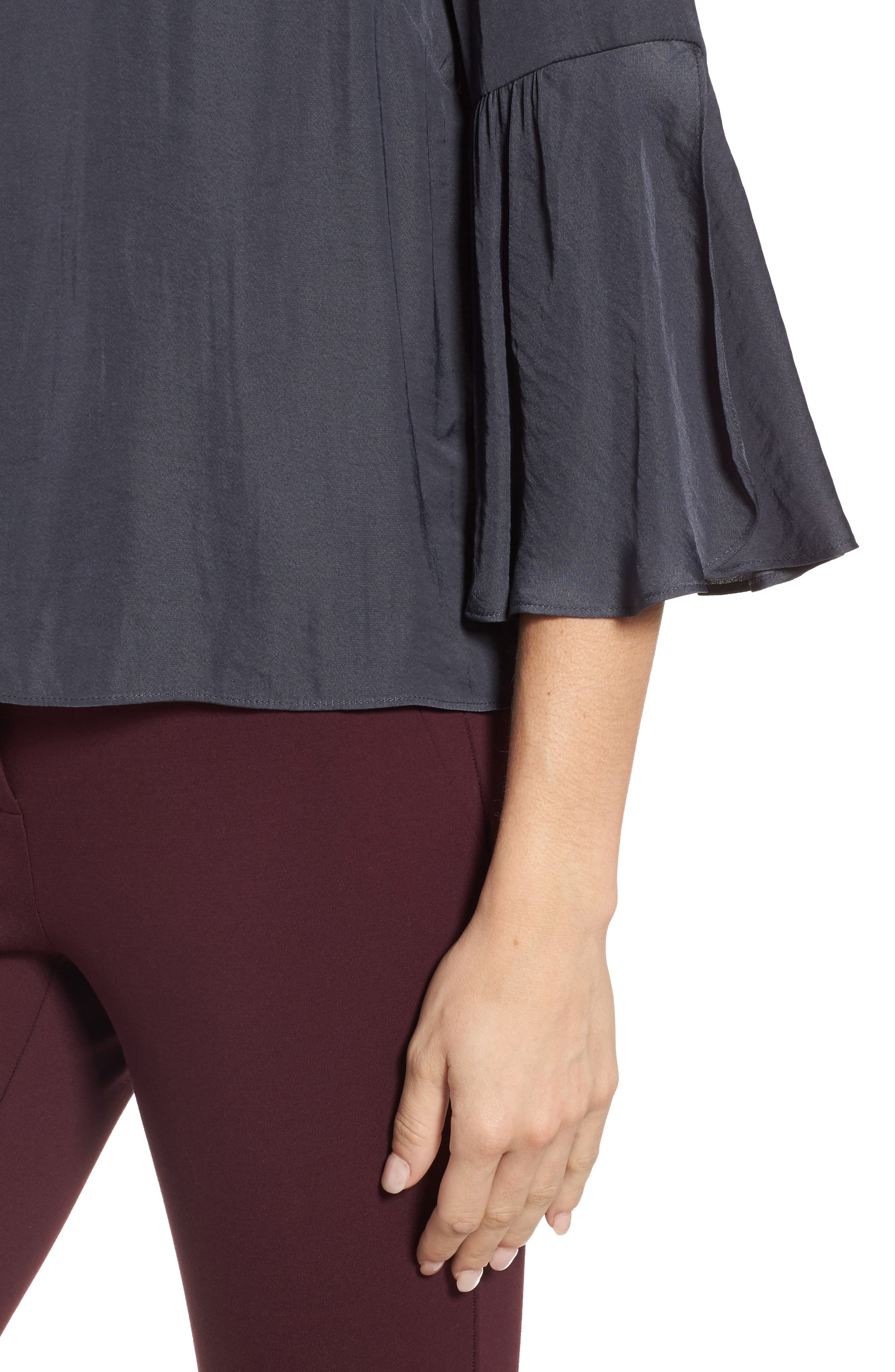 Hammer Satin Bell Sleeve Blouse,                             Alternate thumbnail 4, color,                             039