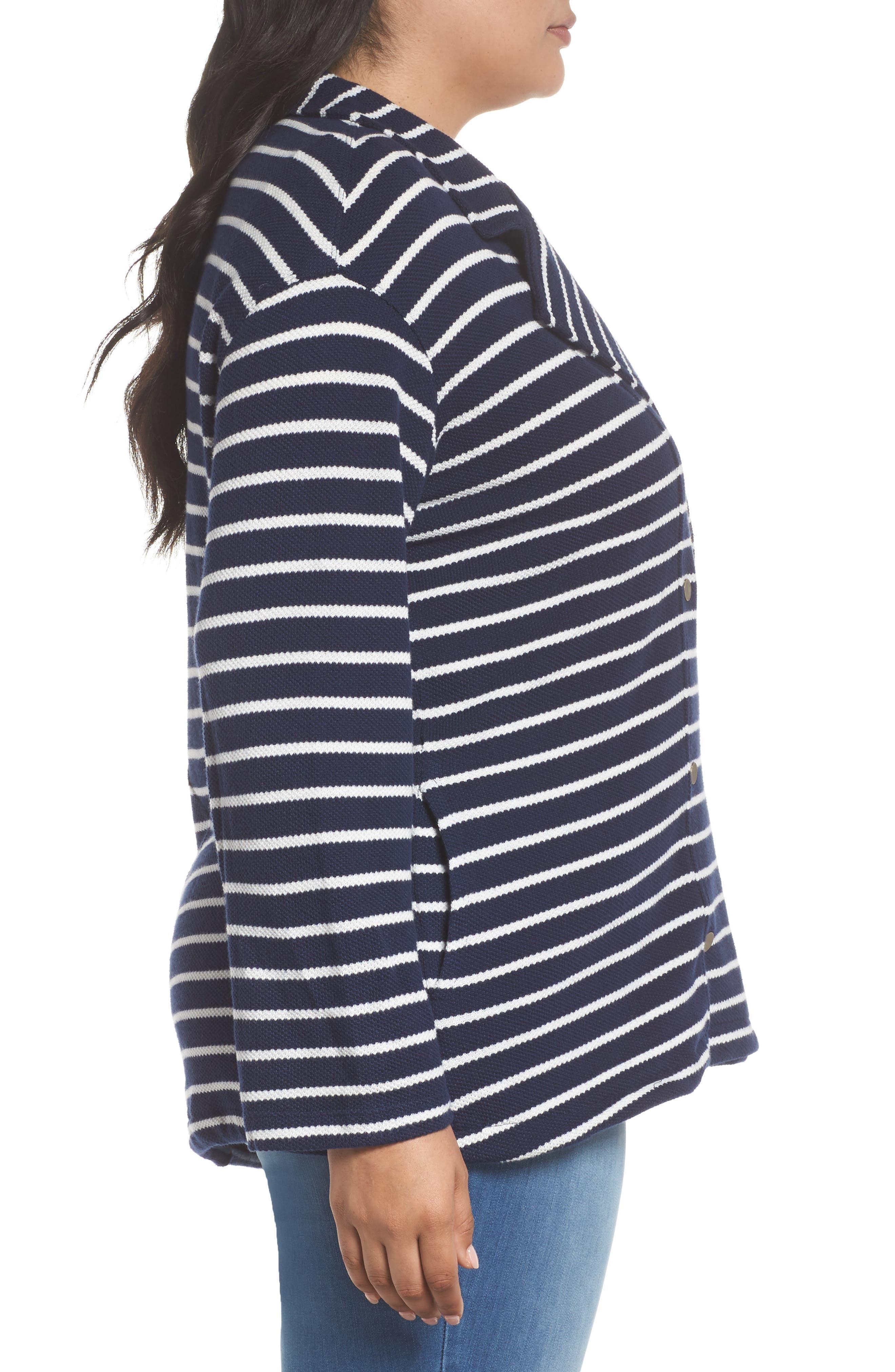 Stripe Peacoat Knit Jacket,                             Alternate thumbnail 3, color,                             410