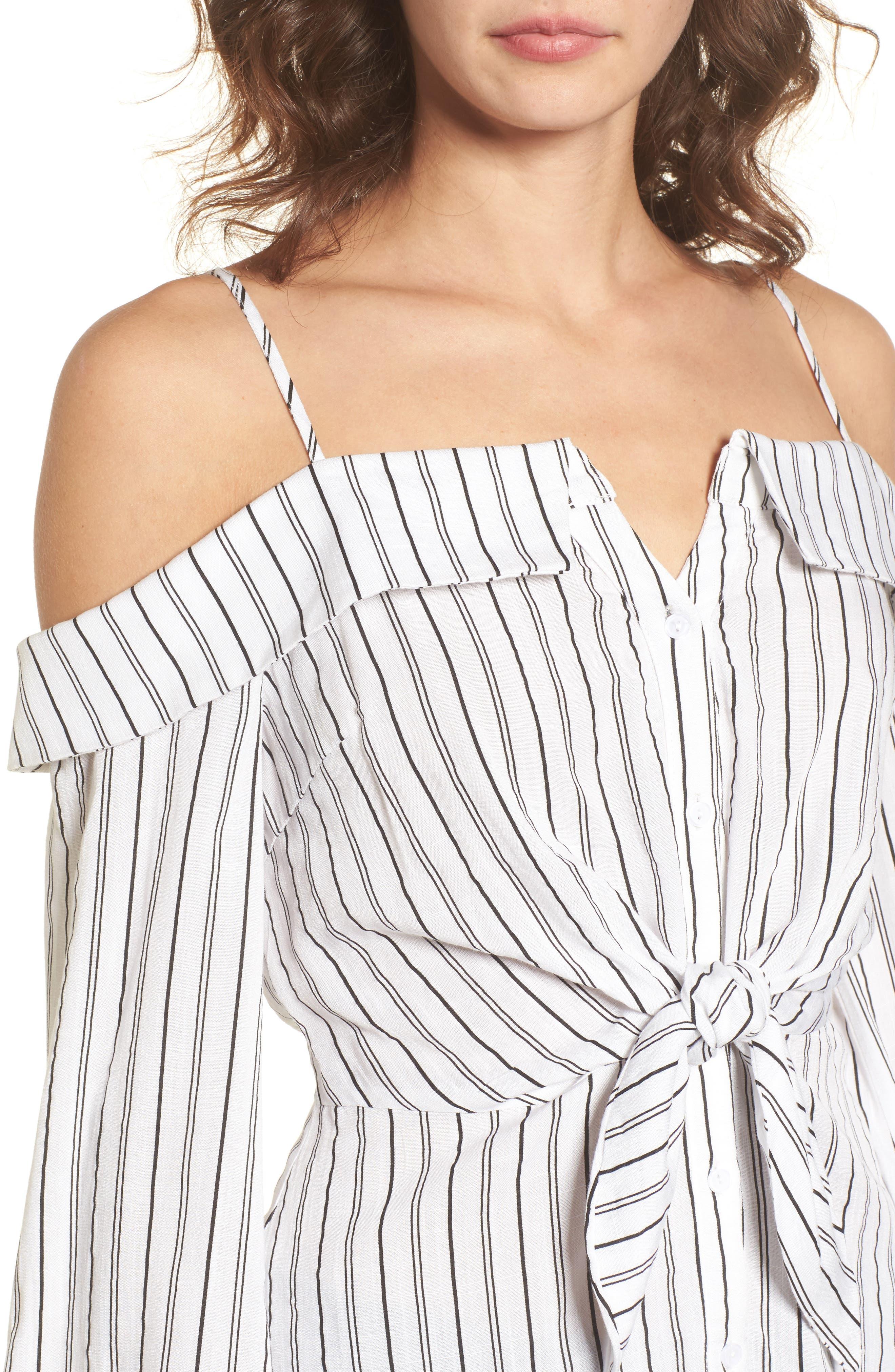 Stripe Tie Waist Off the Shoulder Shirt,                             Alternate thumbnail 4, color,                             100