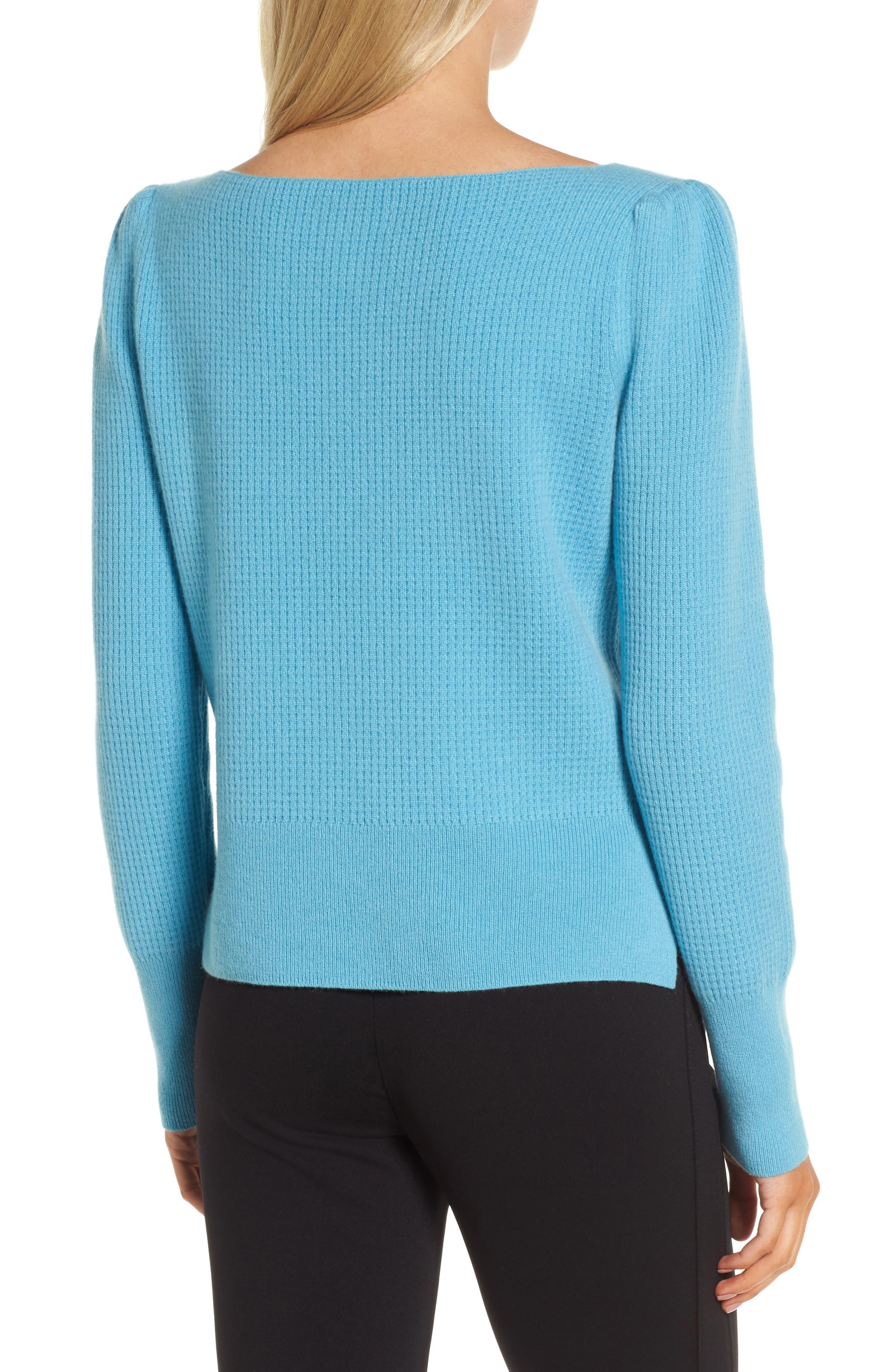 Waffle Stitch Cashmere Sweater,                             Alternate thumbnail 3, color,