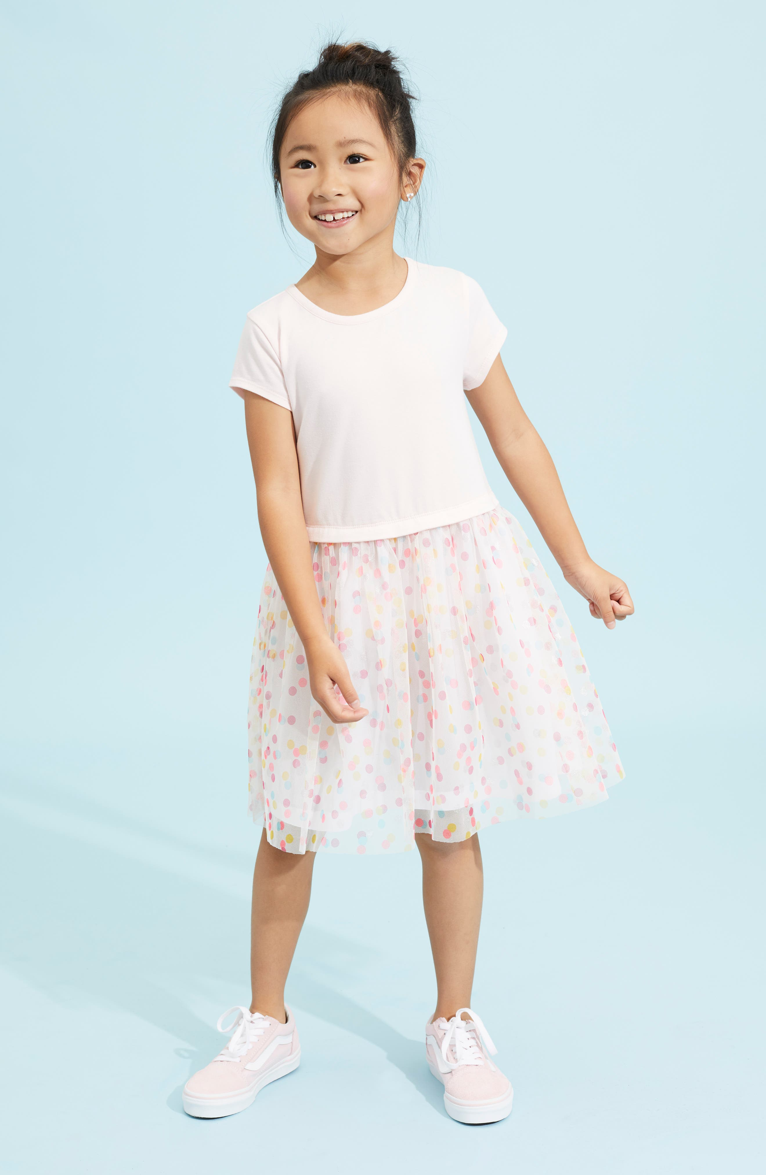 Party Time Dot Tulle Dress,                             Alternate thumbnail 4, color,                             PINK AMOUR