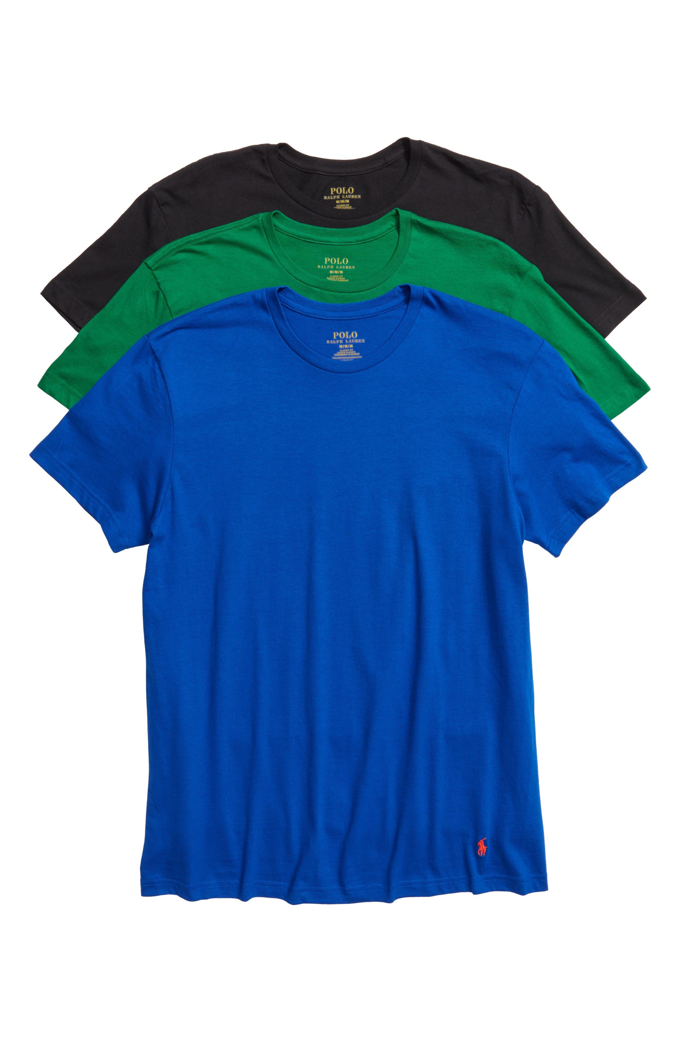 3-Pack Crewneck Cotton T-Shirts,                             Main thumbnail 1, color,                             001