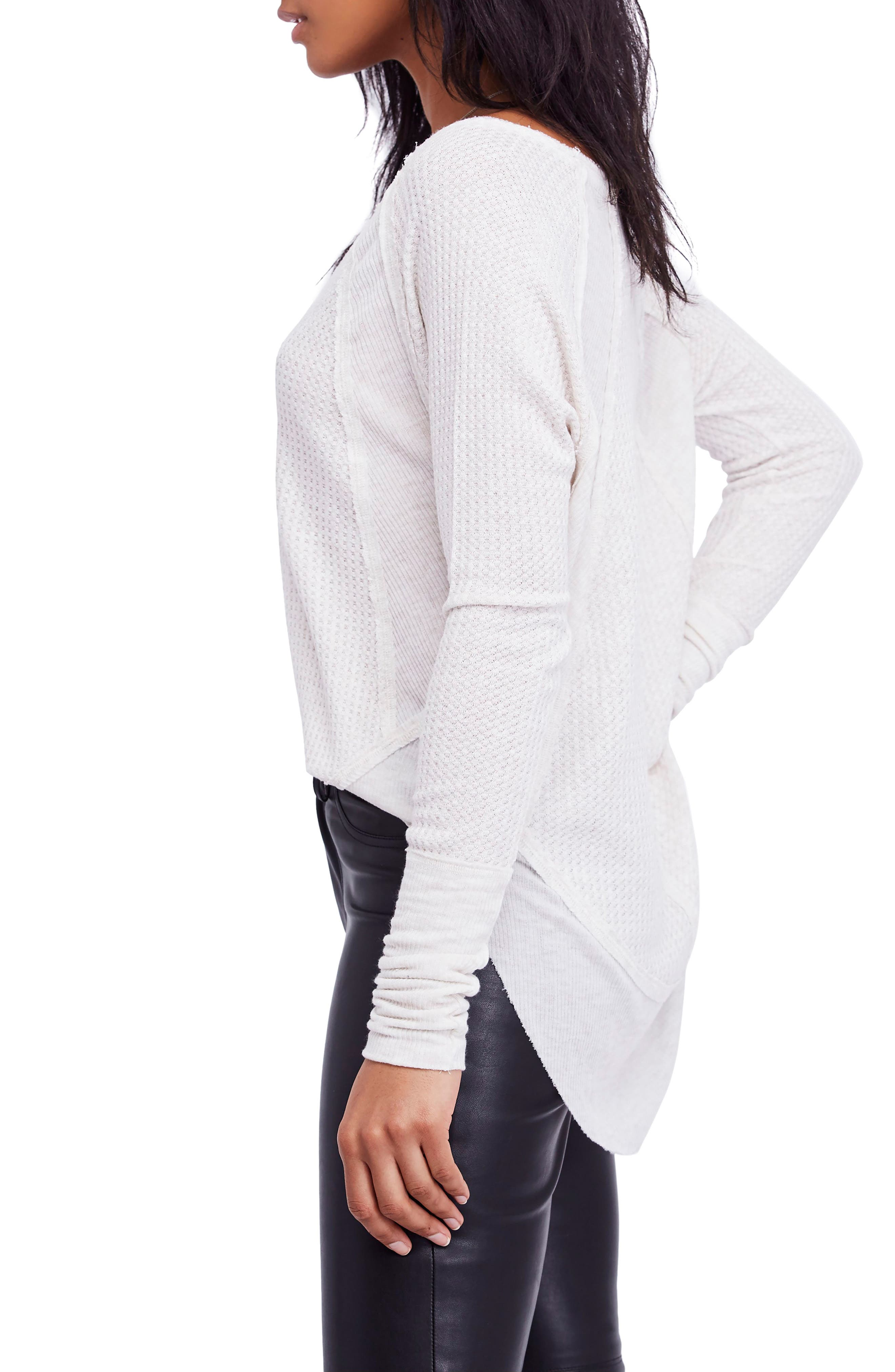 We the Free by Free People Catalina V-Neck Thermal Top,                             Alternate thumbnail 3, color,                             SAND