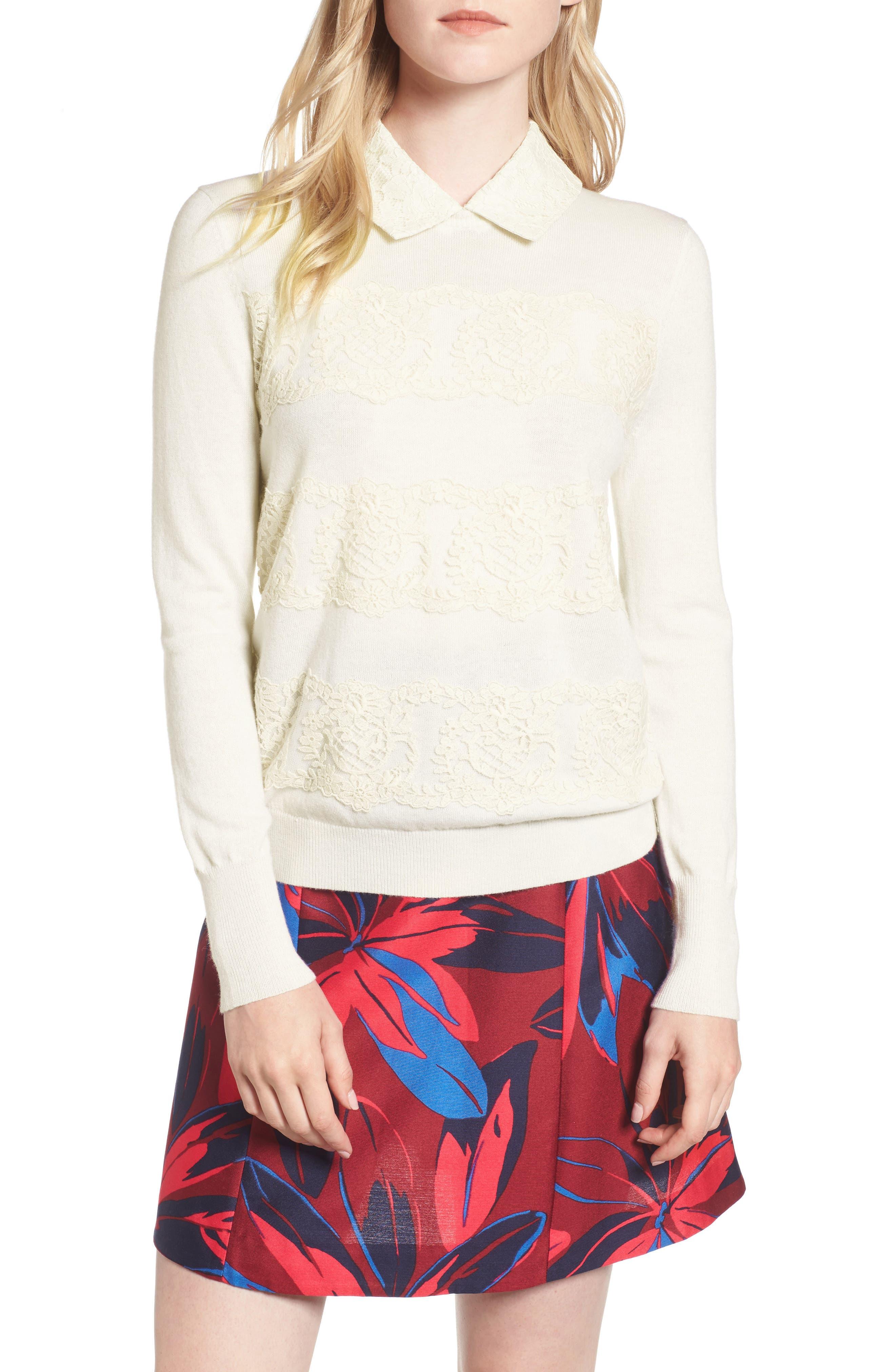 Lace Collar Augusta Sweater,                         Main,                         color, 130