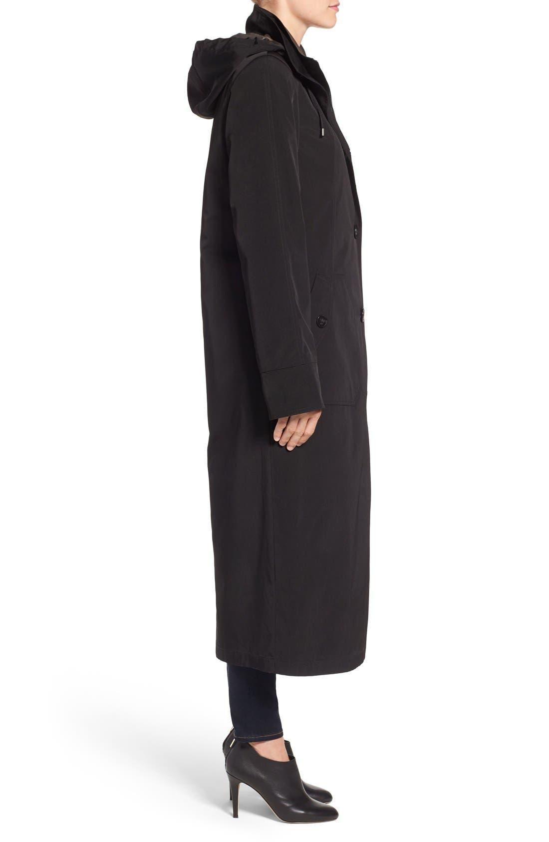 Full Length Two-Tone Silk Look Raincoat,                             Alternate thumbnail 4, color,                             BLACK