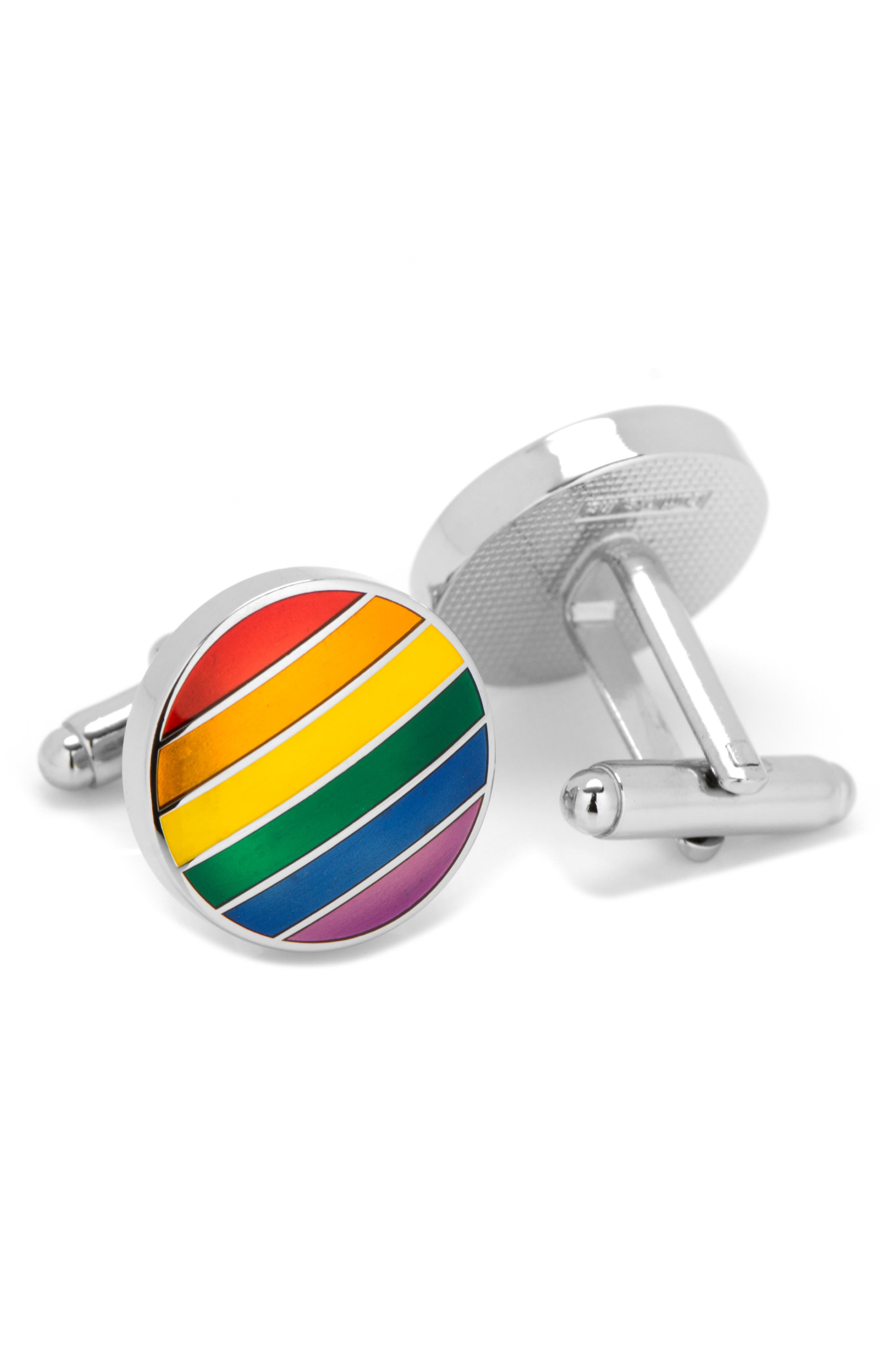Rainbow Stripe Cuff Links,                             Alternate thumbnail 2, color,                             METALLIC SILVER