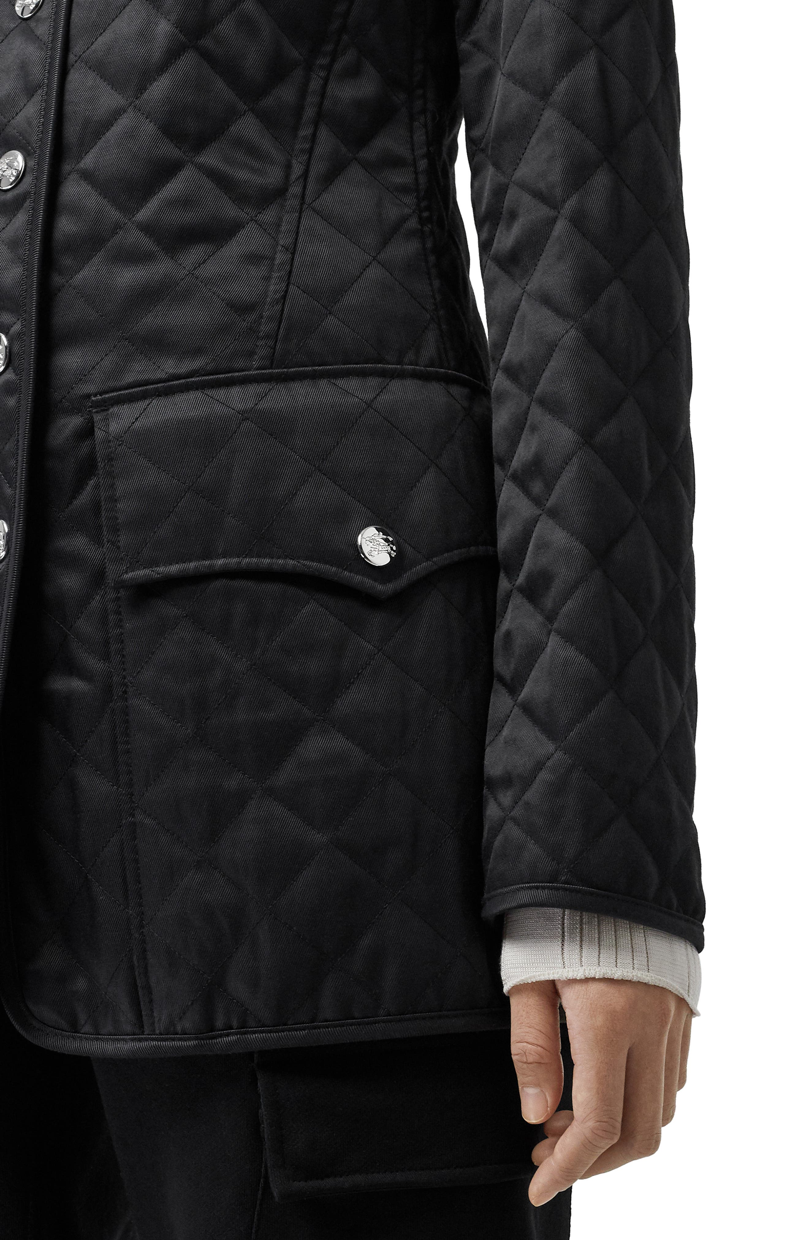 BURBERRY,                             Borthwicke Quilted Jacket,                             Alternate thumbnail 4, color,                             BLACK