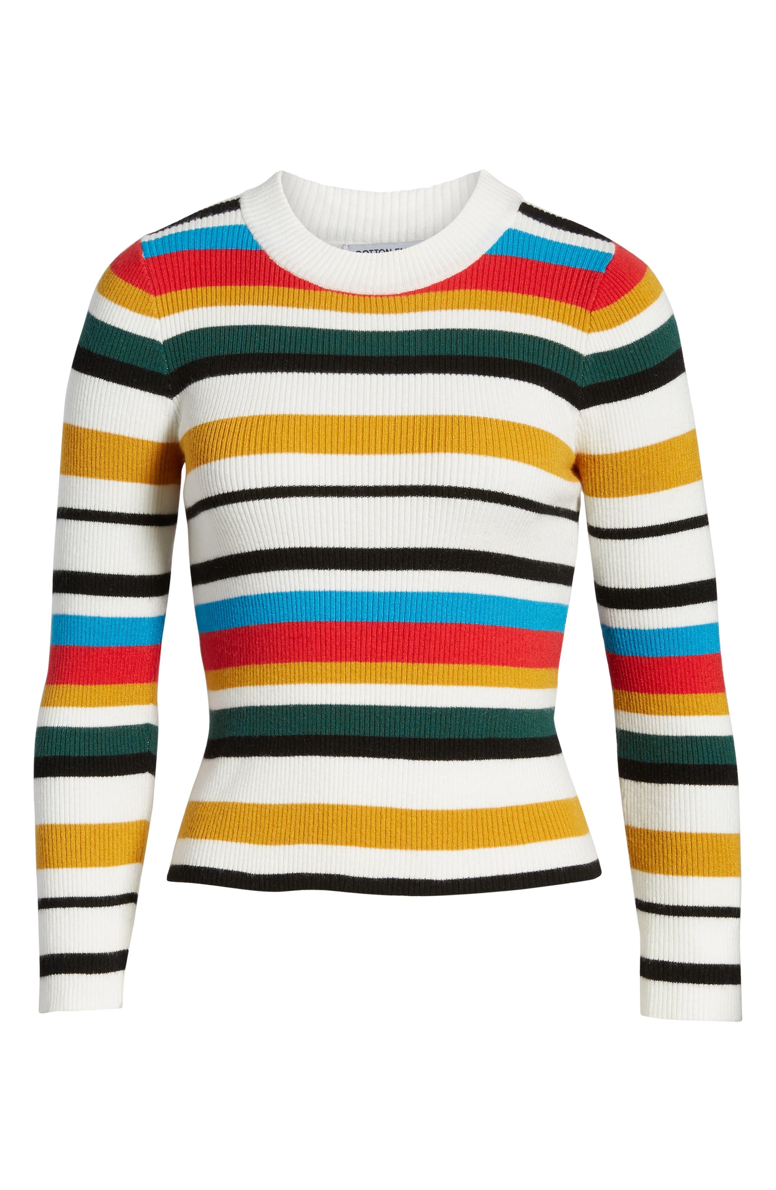 Stripe Rib Knit Sweater,                             Alternate thumbnail 6, color,                             100