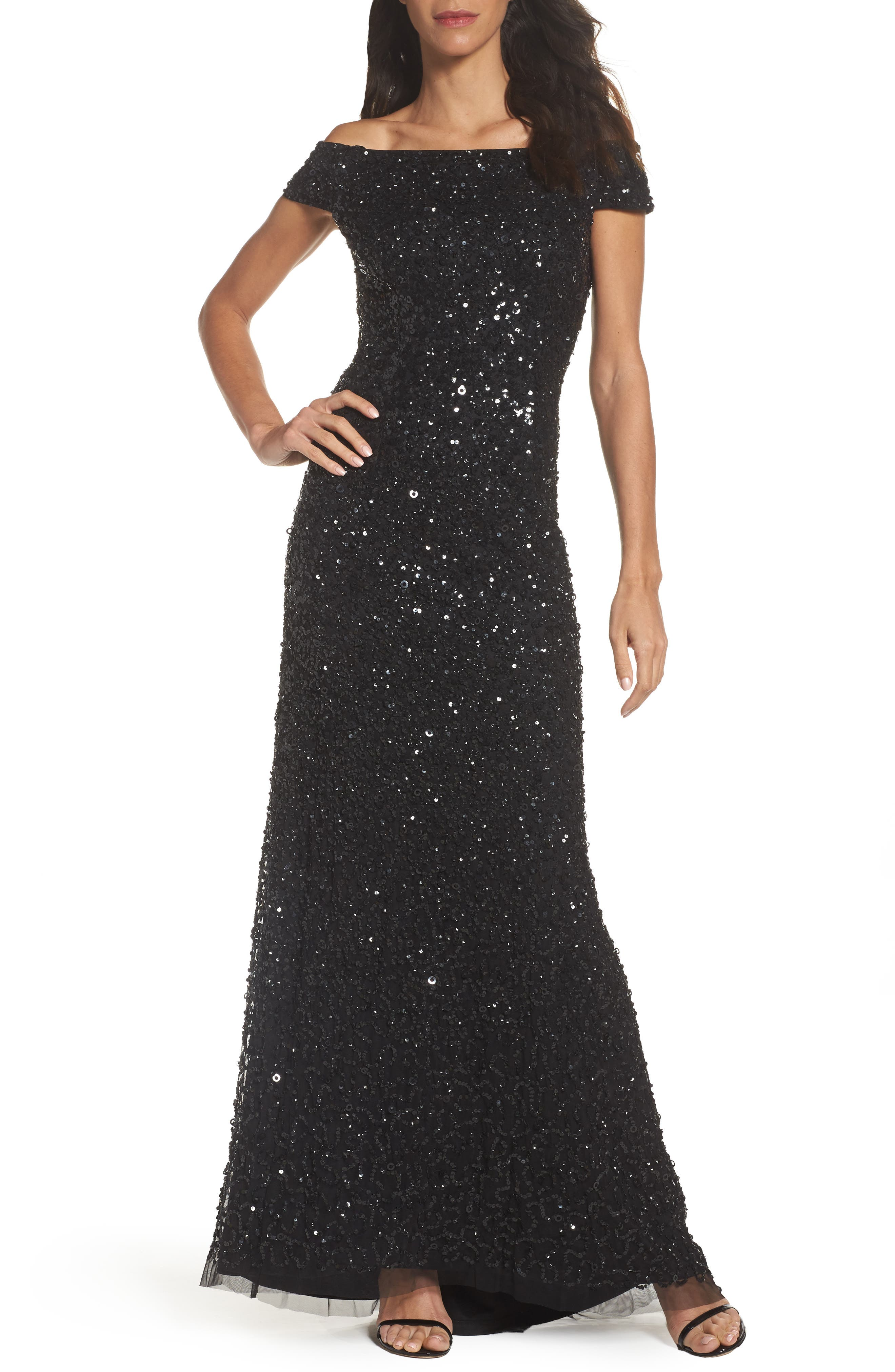 Sequin Mesh Gown,                             Main thumbnail 1, color,                             002