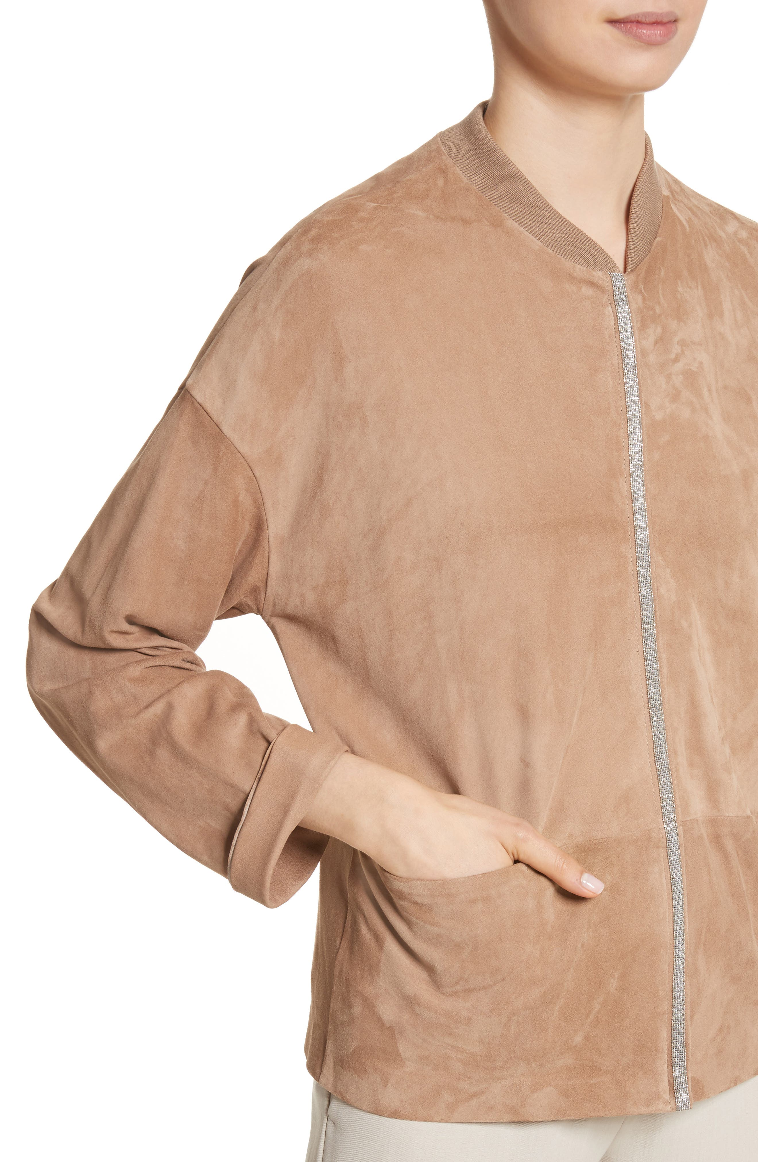 Beaded Suede Jacket,                             Alternate thumbnail 4, color,                             200