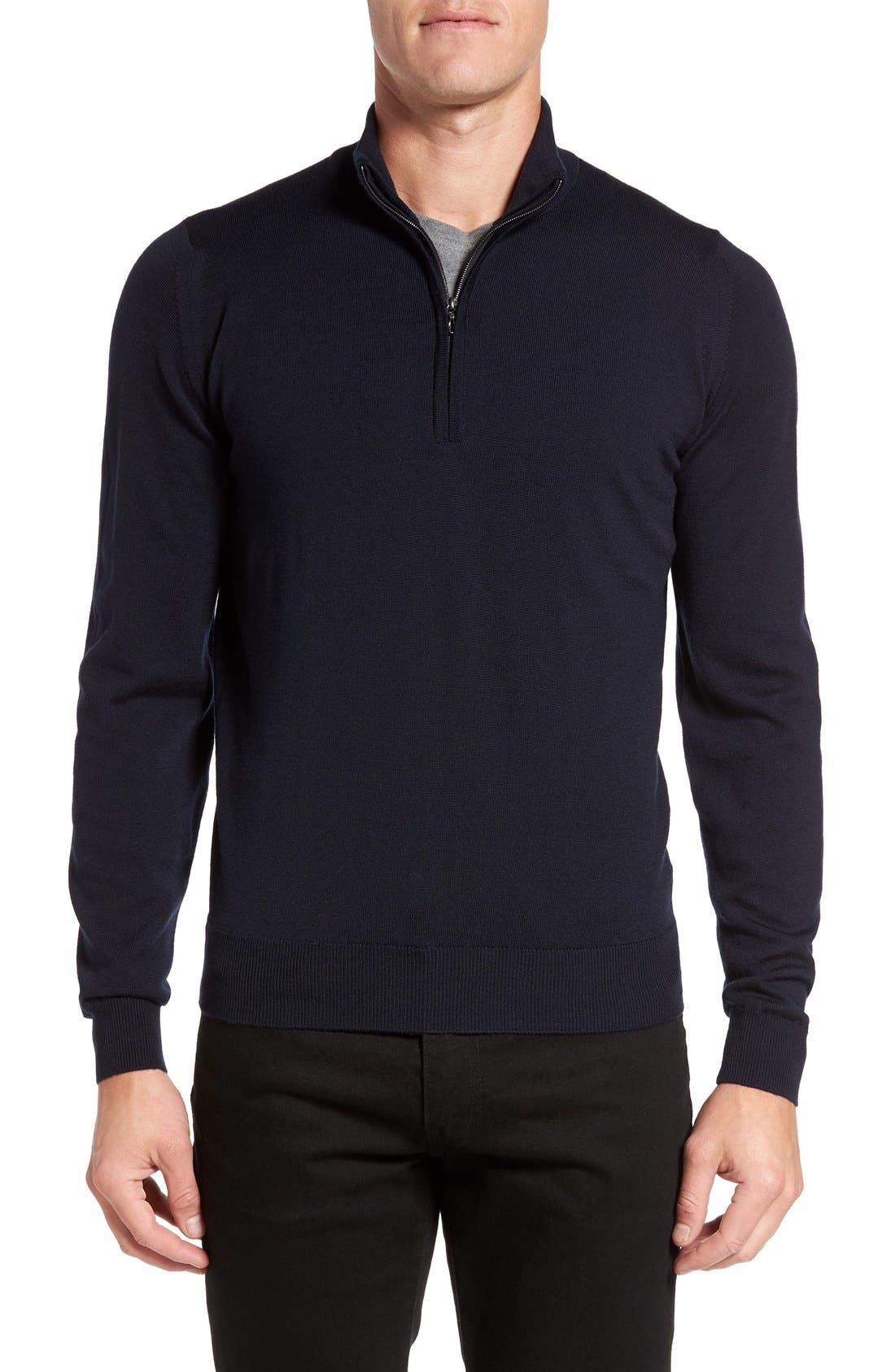 'Tapton' Quarter Zip Merino Wool Sweater,                             Main thumbnail 1, color,                             412