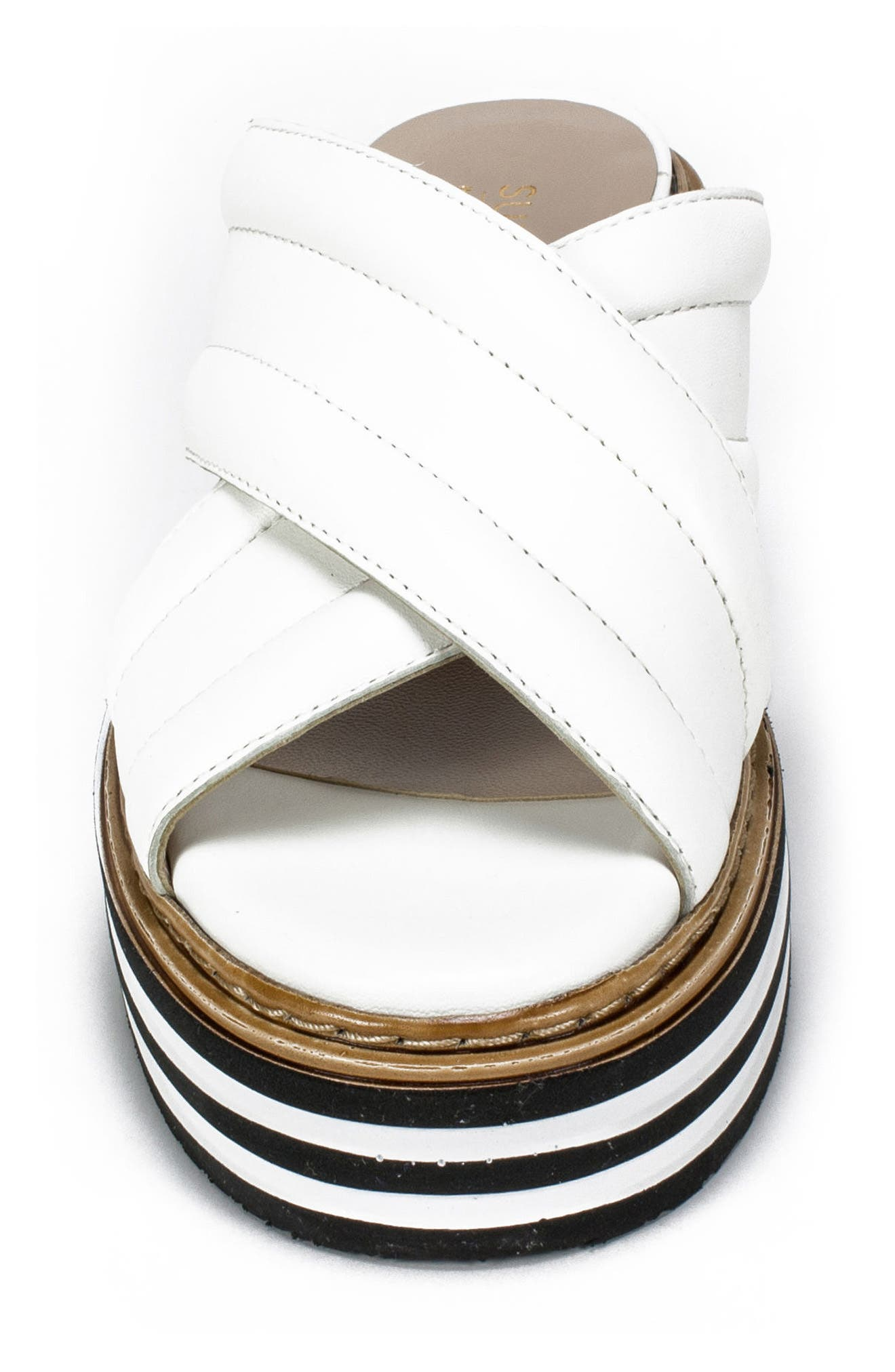 SUMMIT,                             by White Mountain Lowell Platform Slide Sandal,                             Alternate thumbnail 4, color,                             WHITE LEATHER