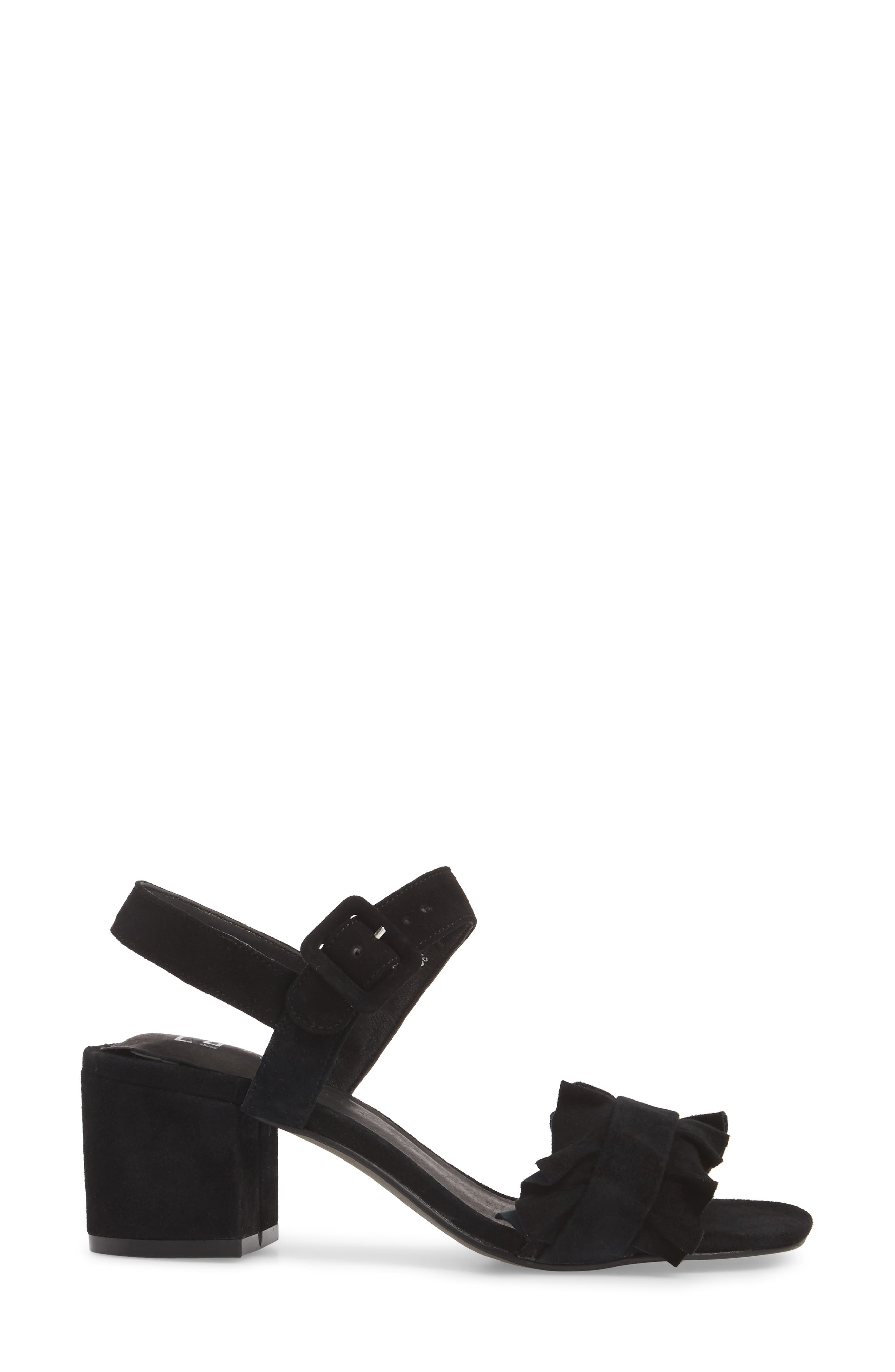 Sandie Block Heel Sandal,                             Alternate thumbnail 3, color,                             BLACK SUEDE
