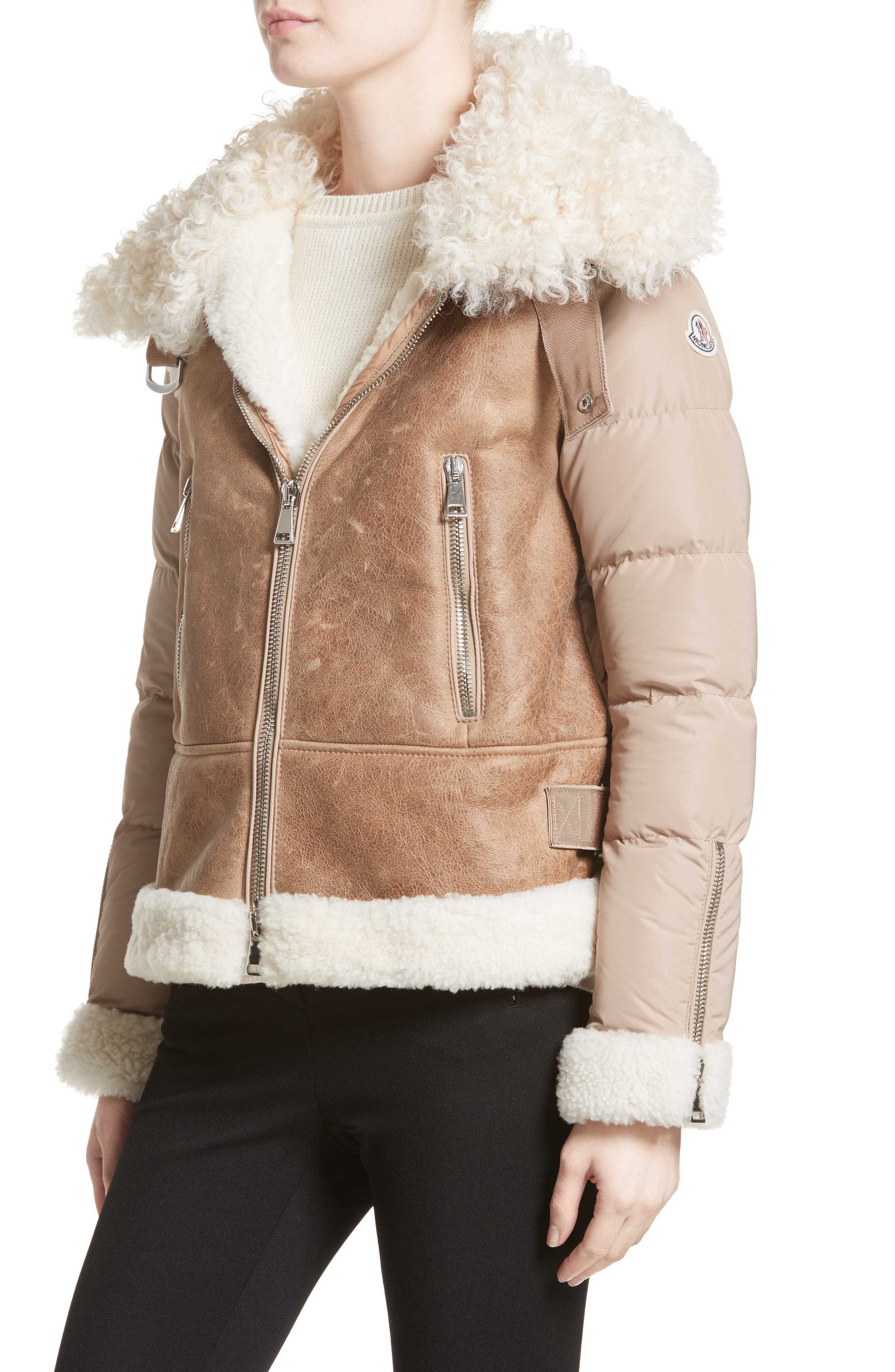 Kilia Genuine Shearling & Down Puffer Jacket,                             Alternate thumbnail 5, color,                             CAMEL
