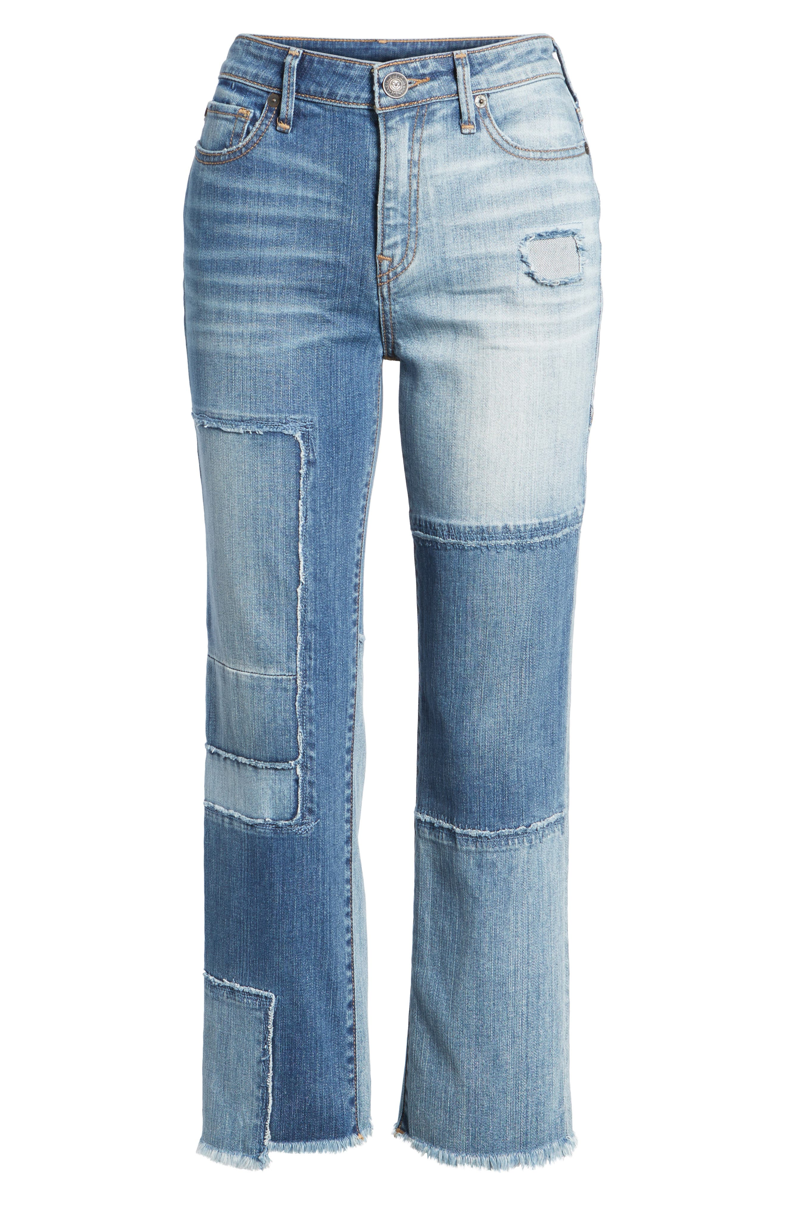 Stovepipe High Waist Crop Jeans,                             Alternate thumbnail 7, color,                             401