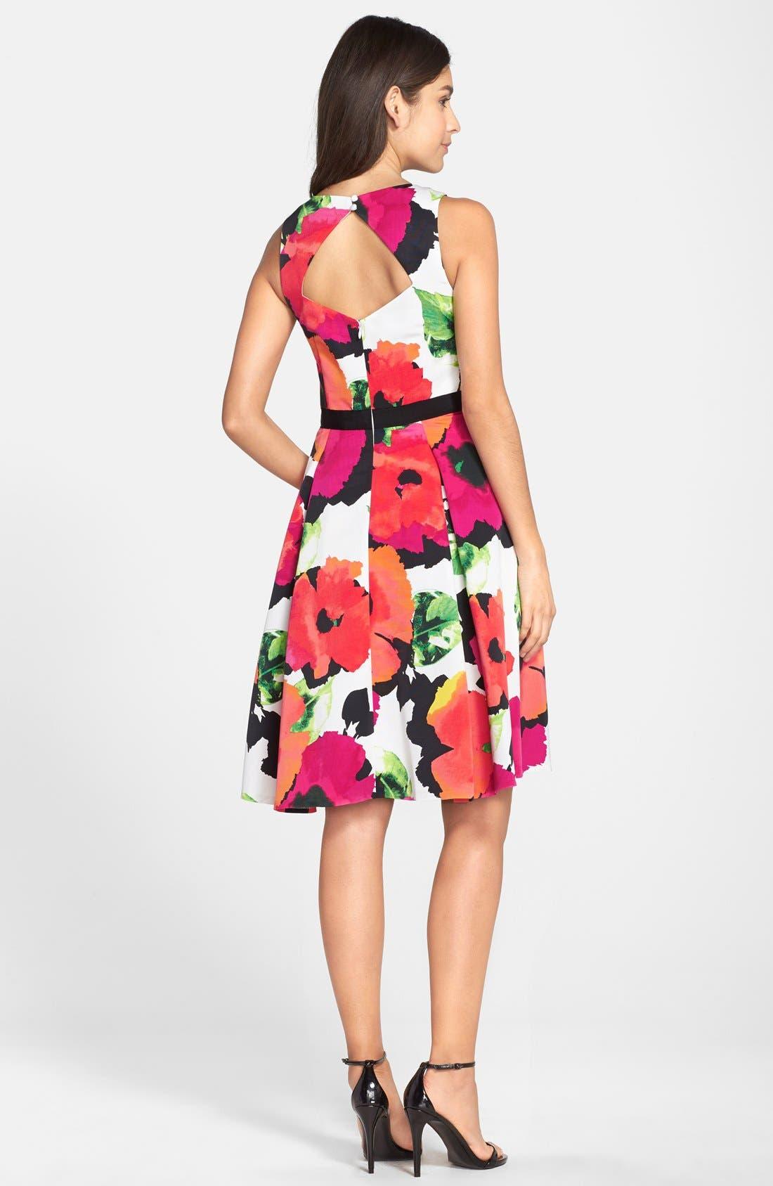 Floral Print Faille Fit & Flare Dress,                             Alternate thumbnail 3, color,                             950