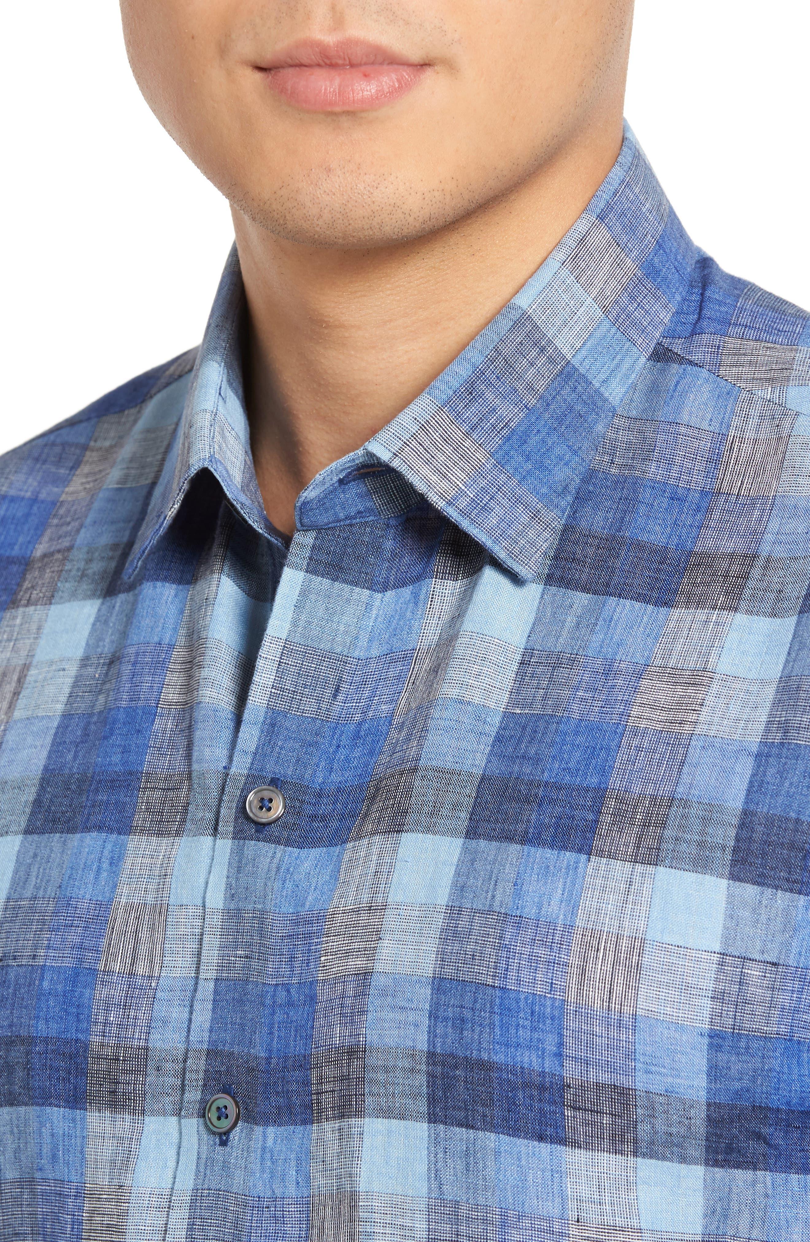 Kerner Plaid Sport Shirt,                             Alternate thumbnail 4, color,
