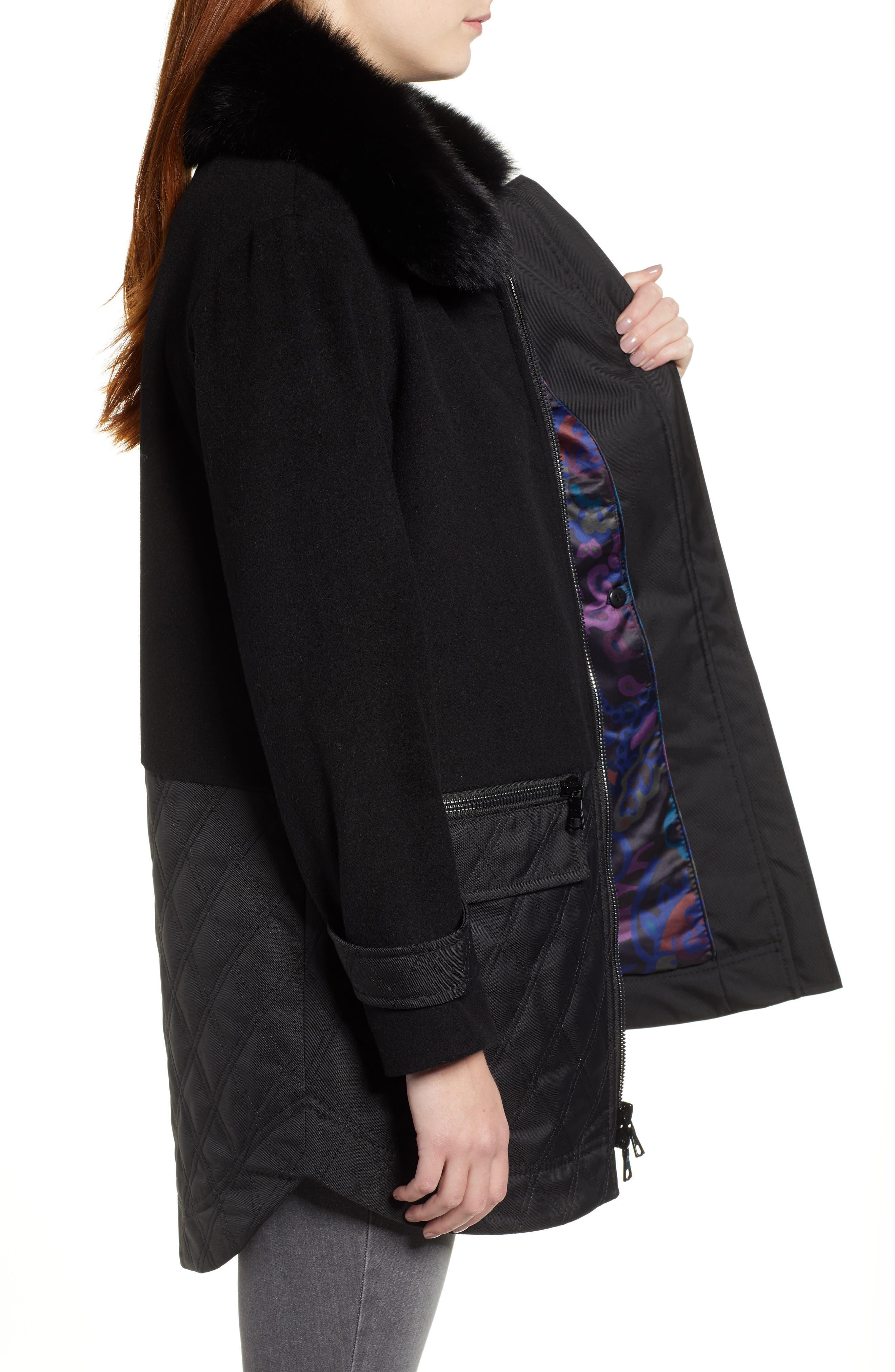 Genuine Fox Fur Trim Mixed Media Coat,                             Alternate thumbnail 3, color,                             BLACK