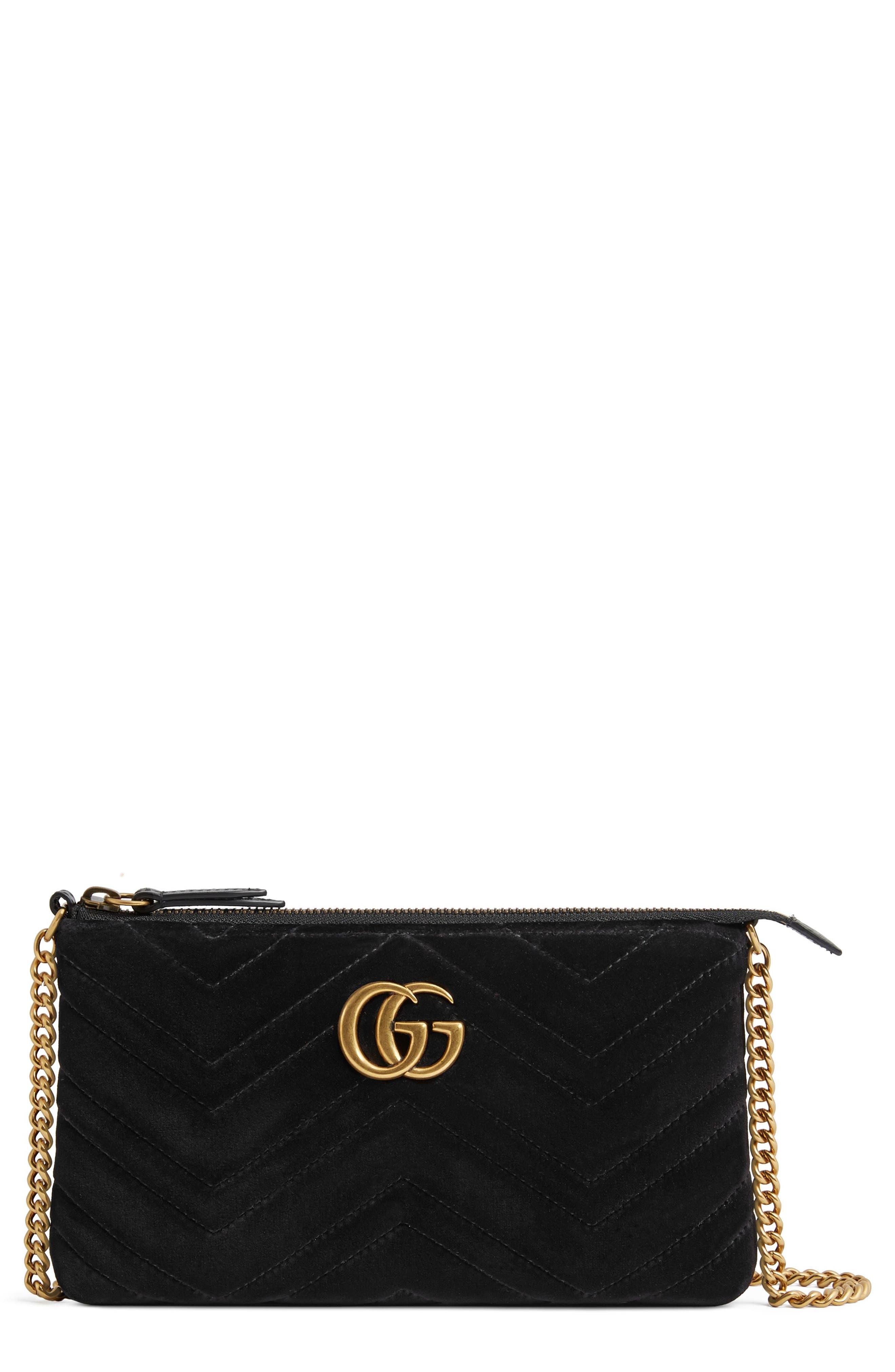 Mini GG Marmont 2.0 Matelassé Velvet Shoulder Bag,                             Main thumbnail 1, color,                             001