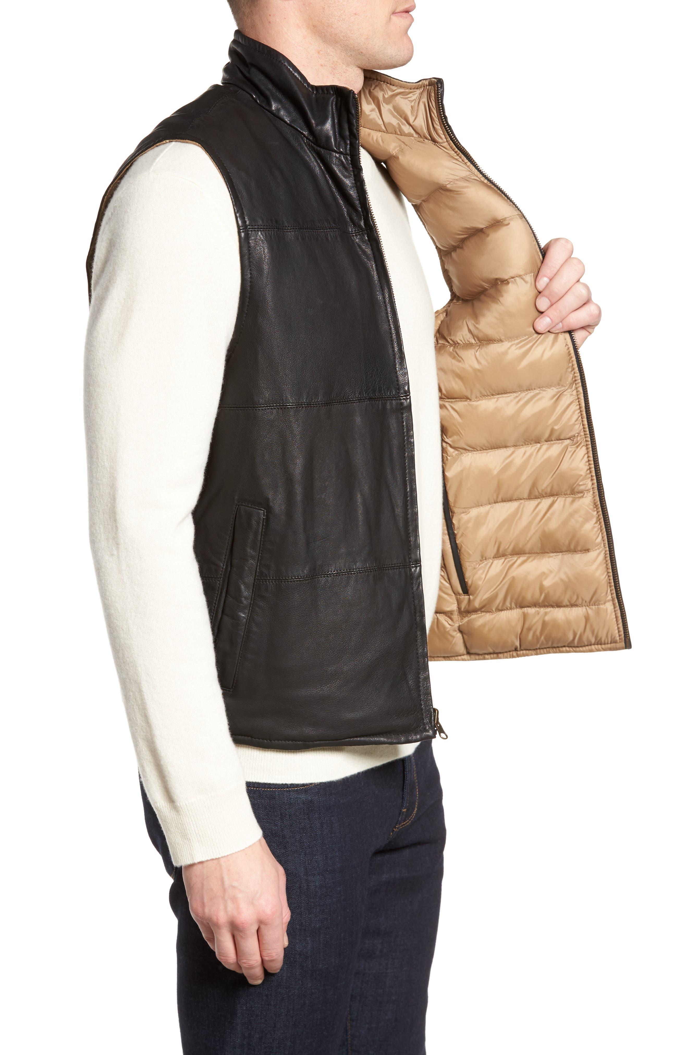 Reversible Leather Puffer Vest,                             Alternate thumbnail 4, color,                             001