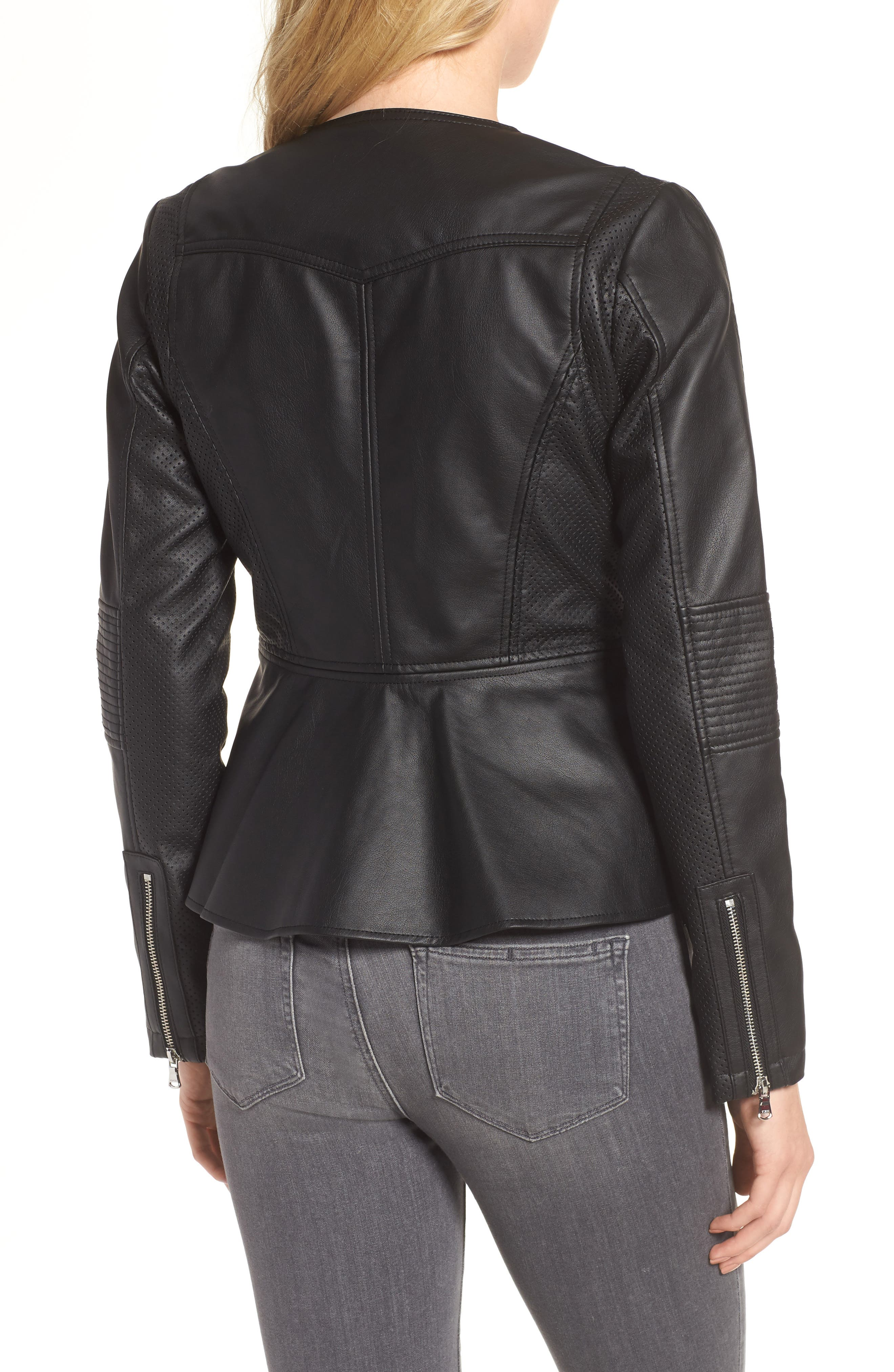 Perforated Peplum Hem Faux Leather Jacket,                             Alternate thumbnail 2, color,                             001