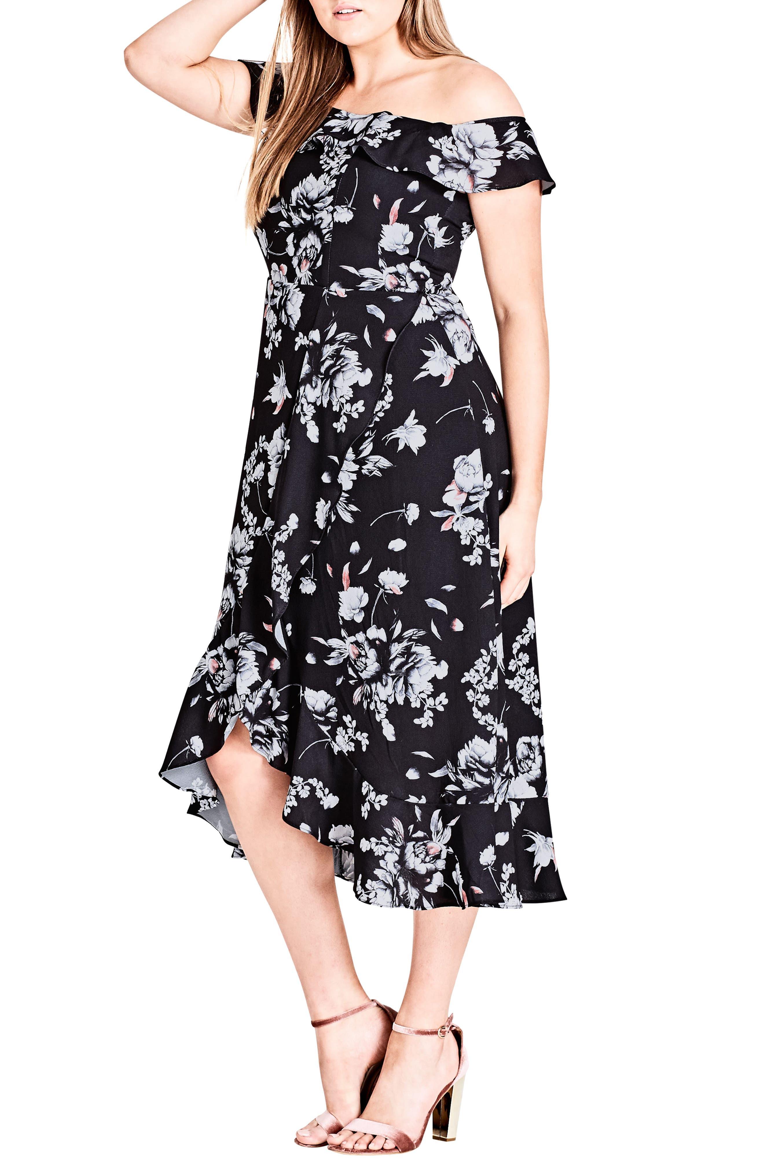 Plus Size City Chic Flower Time Off The Shoulder Midi Dress
