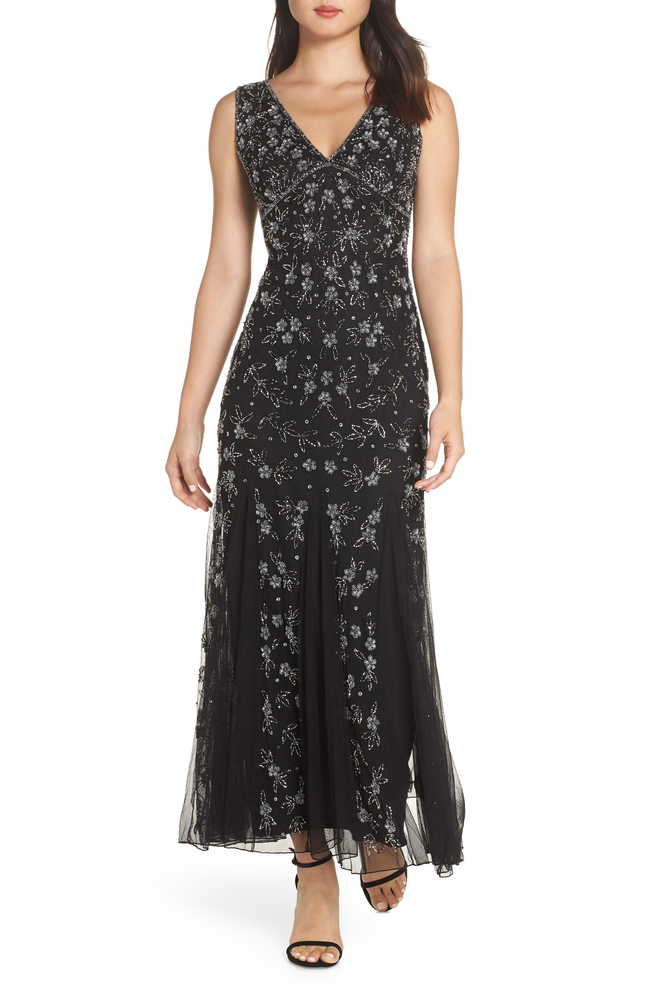 Beaded Godet Gown,                         Main,                         color, BLACK