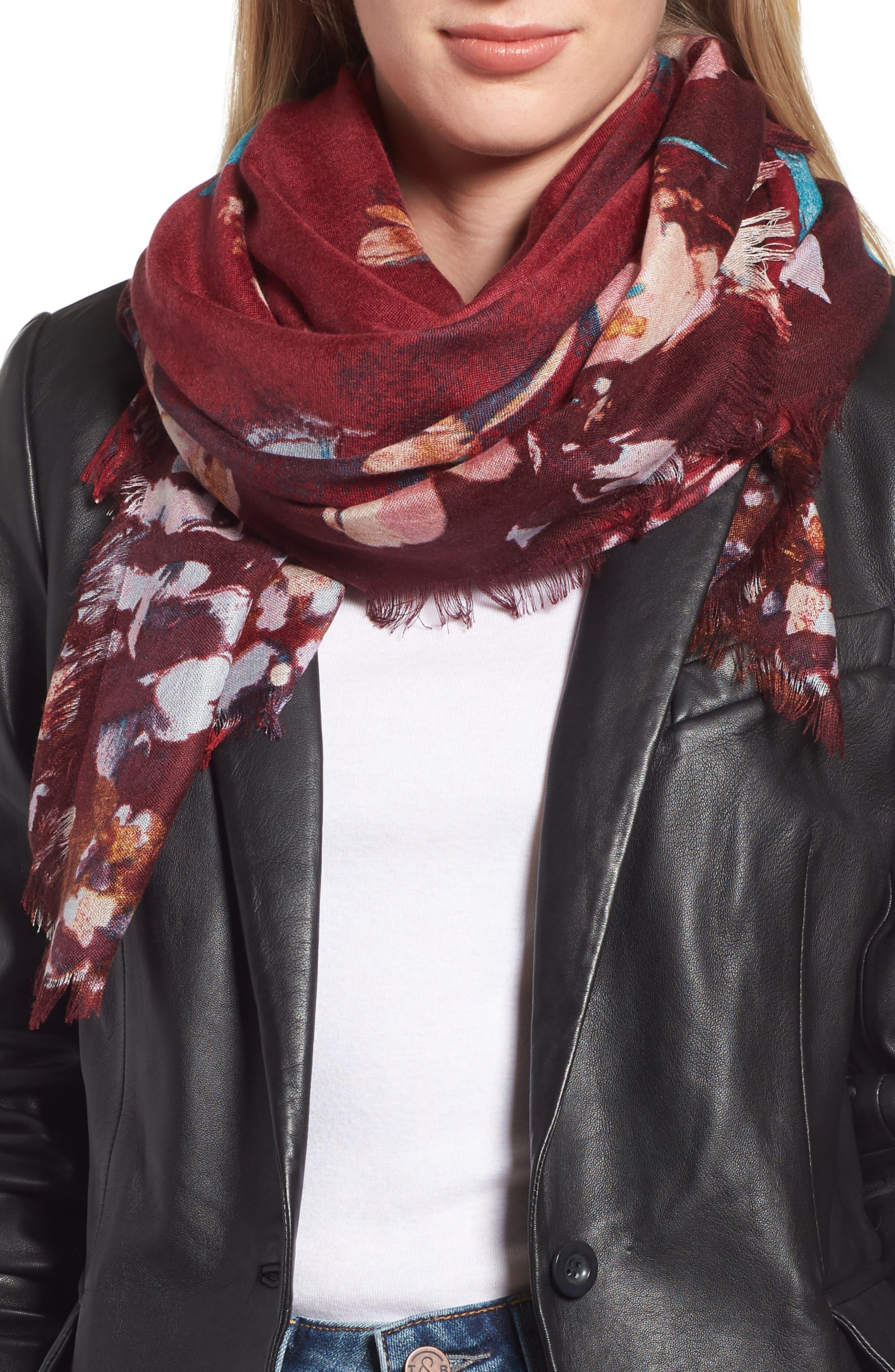 Eyelash Trim Print Cashmere & Silk Wrap,                             Main thumbnail 34, color,