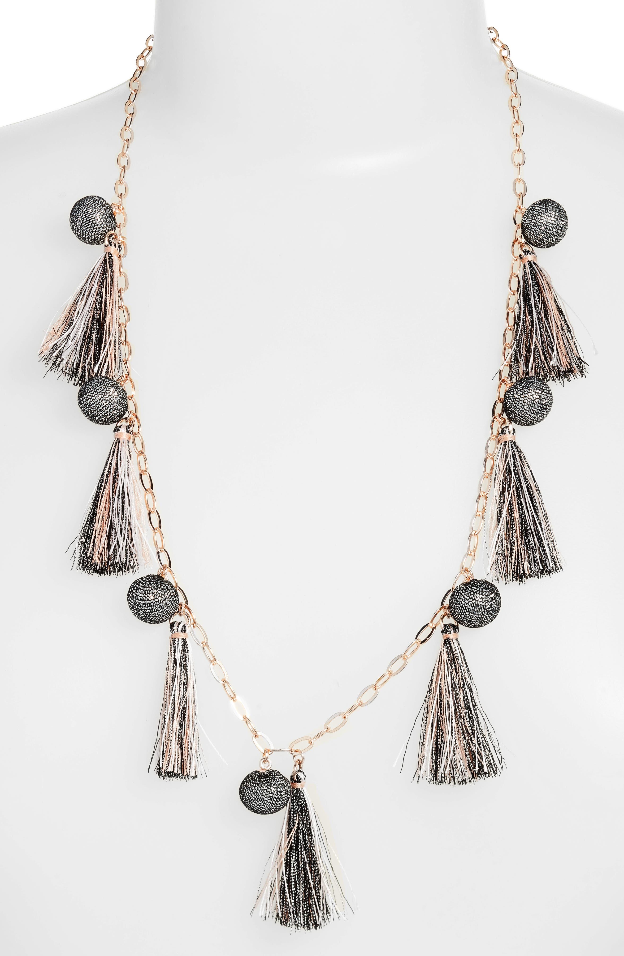 Metallic Pom & Tassel Necklace,                         Main,                         color, 650