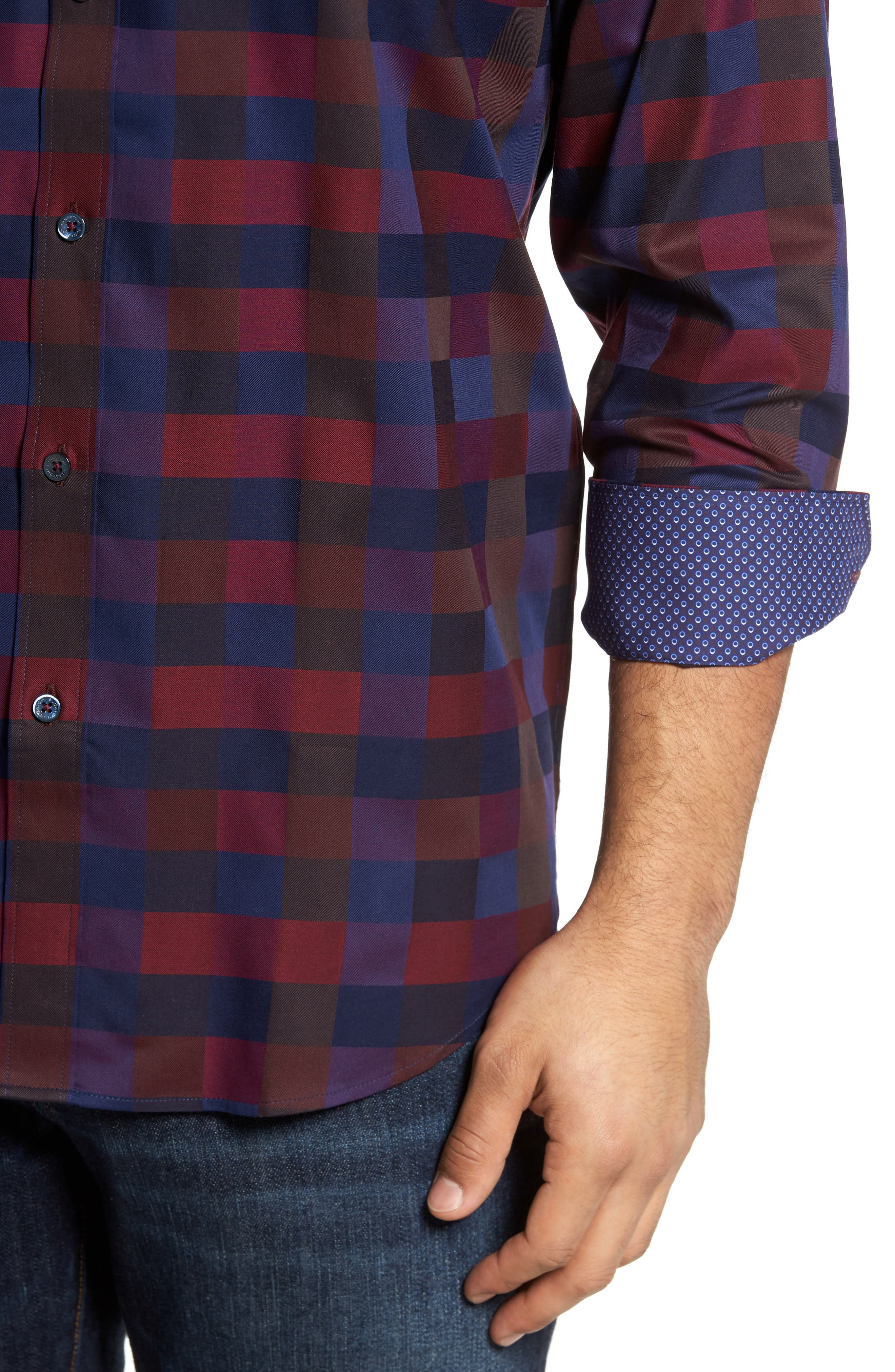 Classic Fit Check Sport Shirt,                             Alternate thumbnail 4, color,                             503