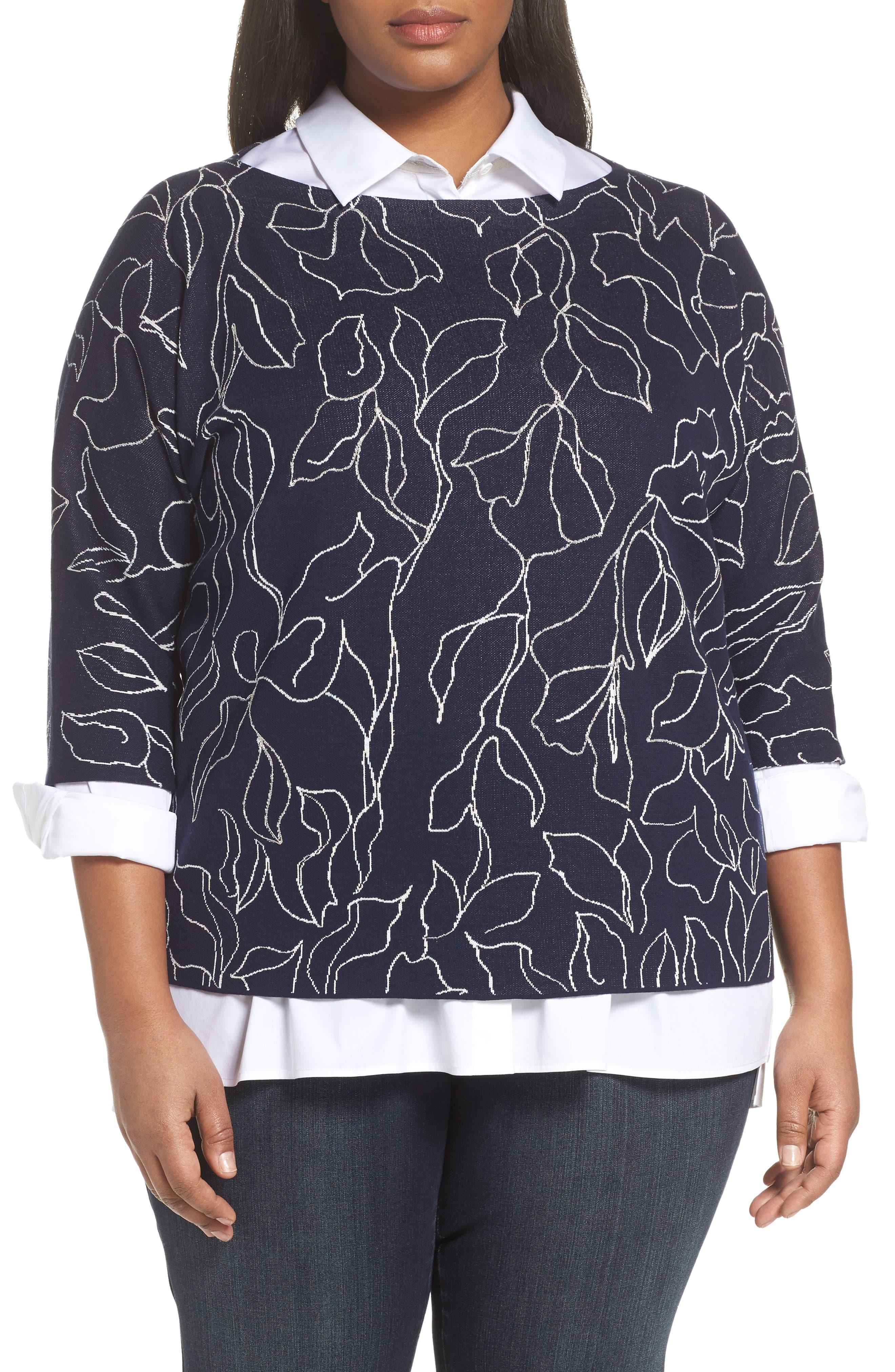 Chain Detail Floral Jacquard Sweater,                         Main,                         color, 400