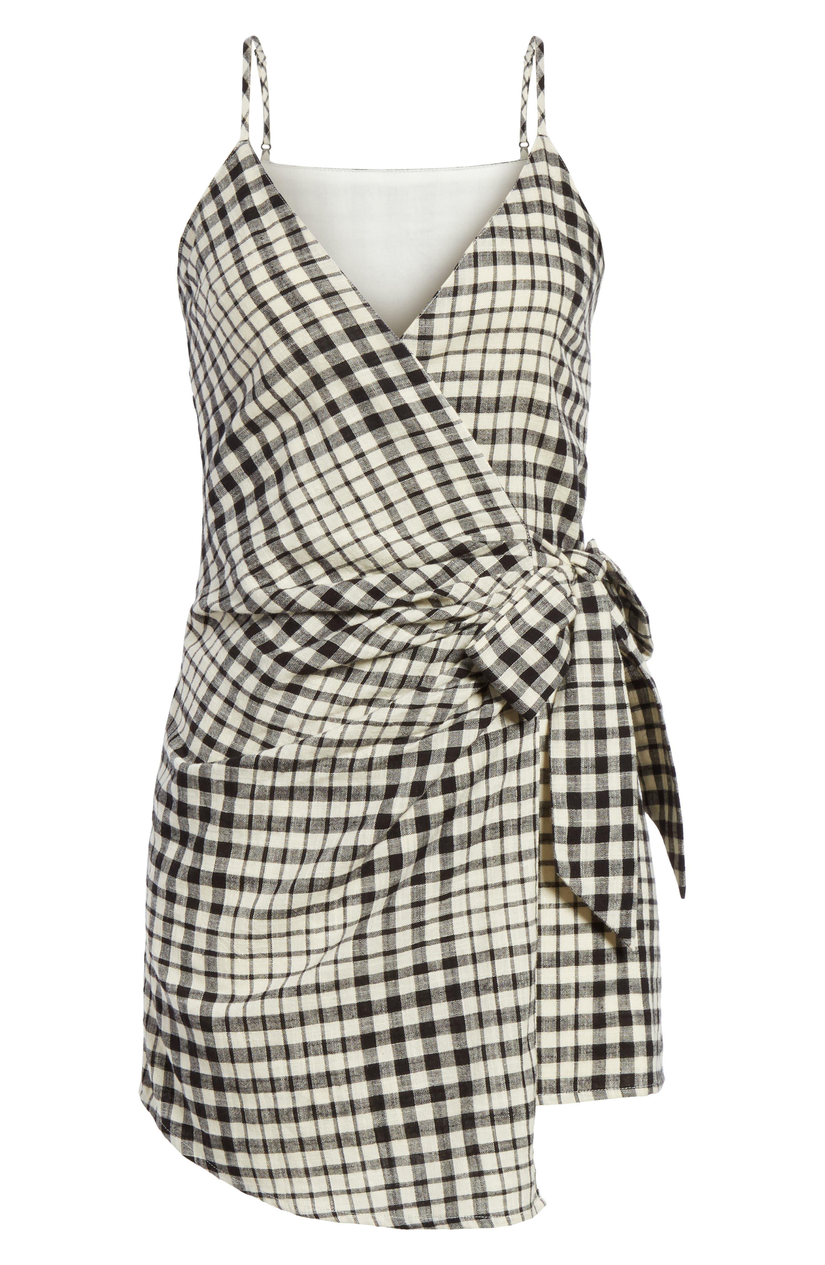 Nodia Check Wrap Minidress,                             Alternate thumbnail 13, color,