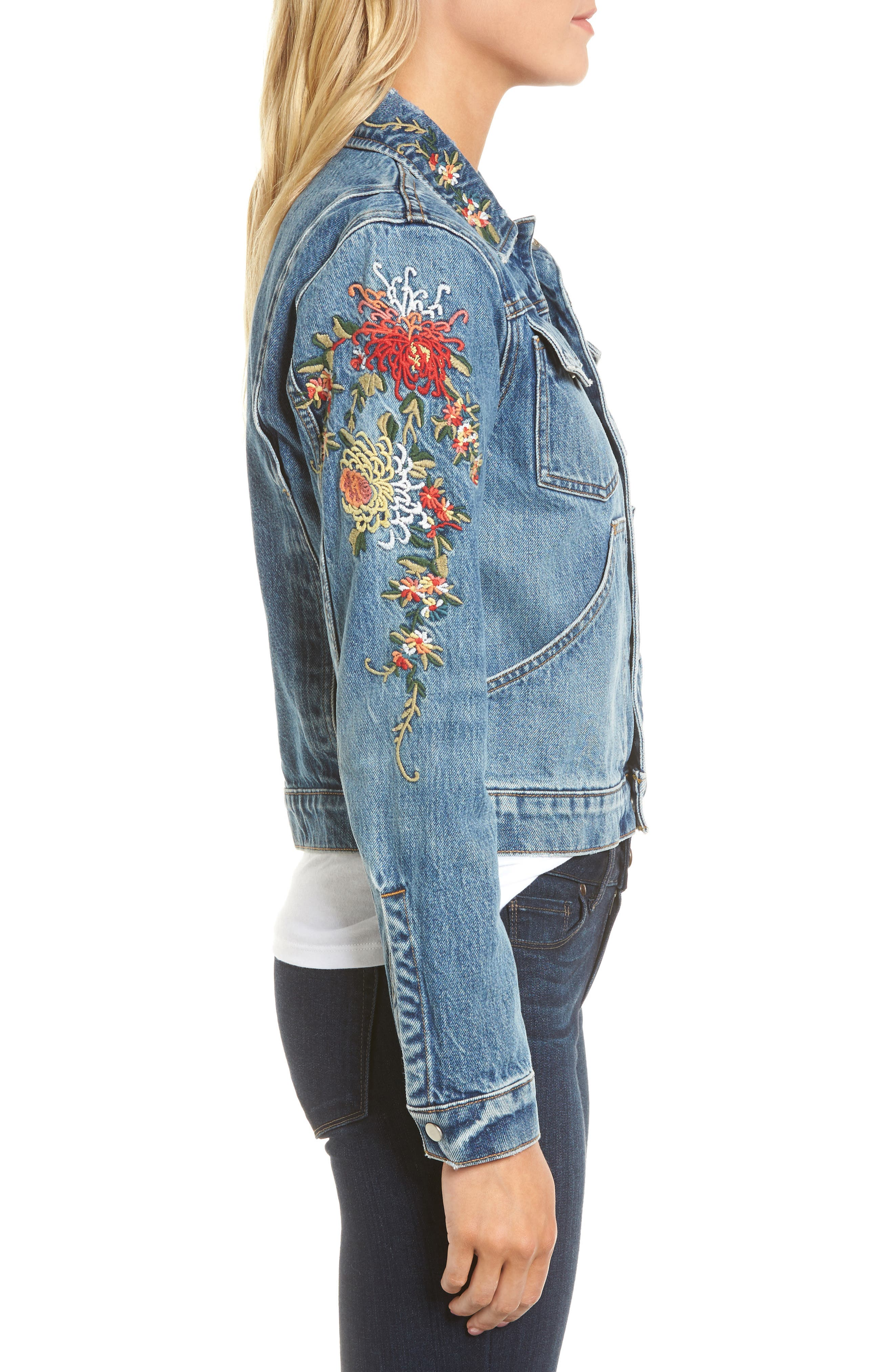 Ren Denim Trucker Jacket,                             Alternate thumbnail 6, color,