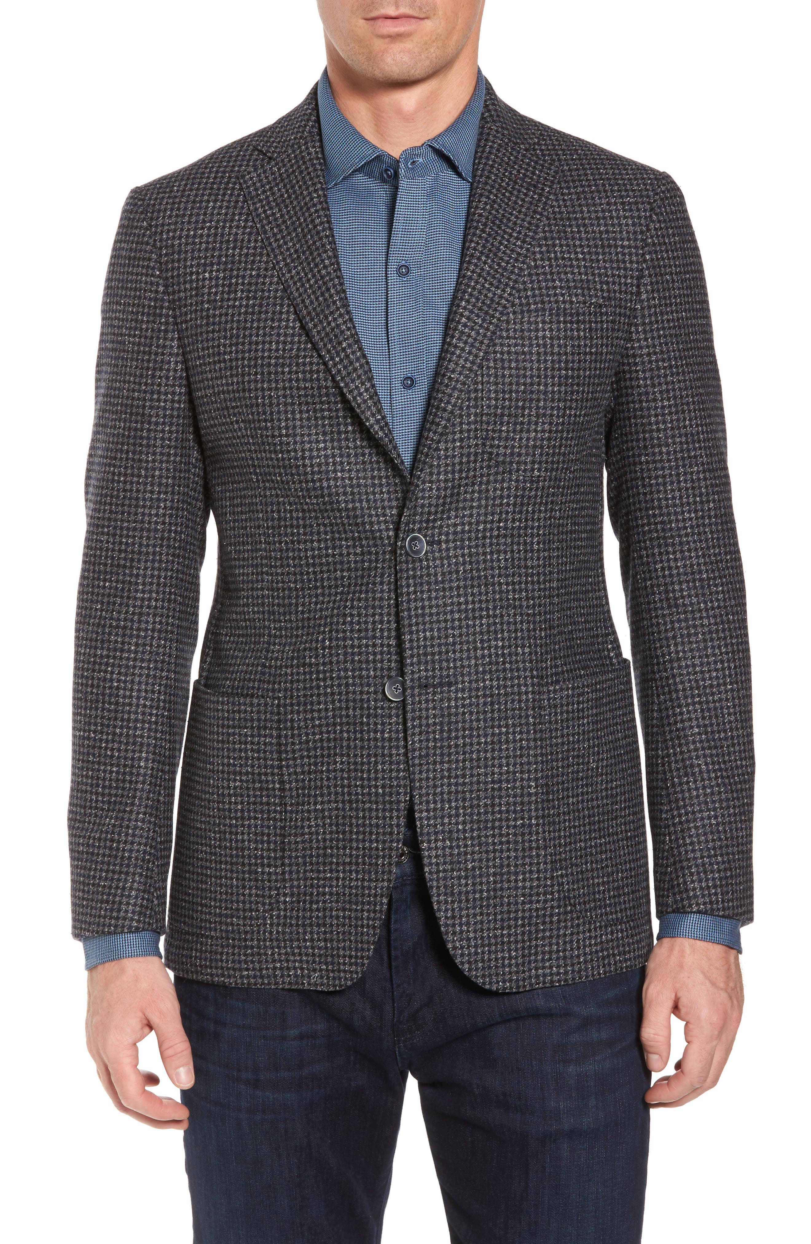 Wool Blend Houndstooth Blazer,                             Main thumbnail 1, color,                             411
